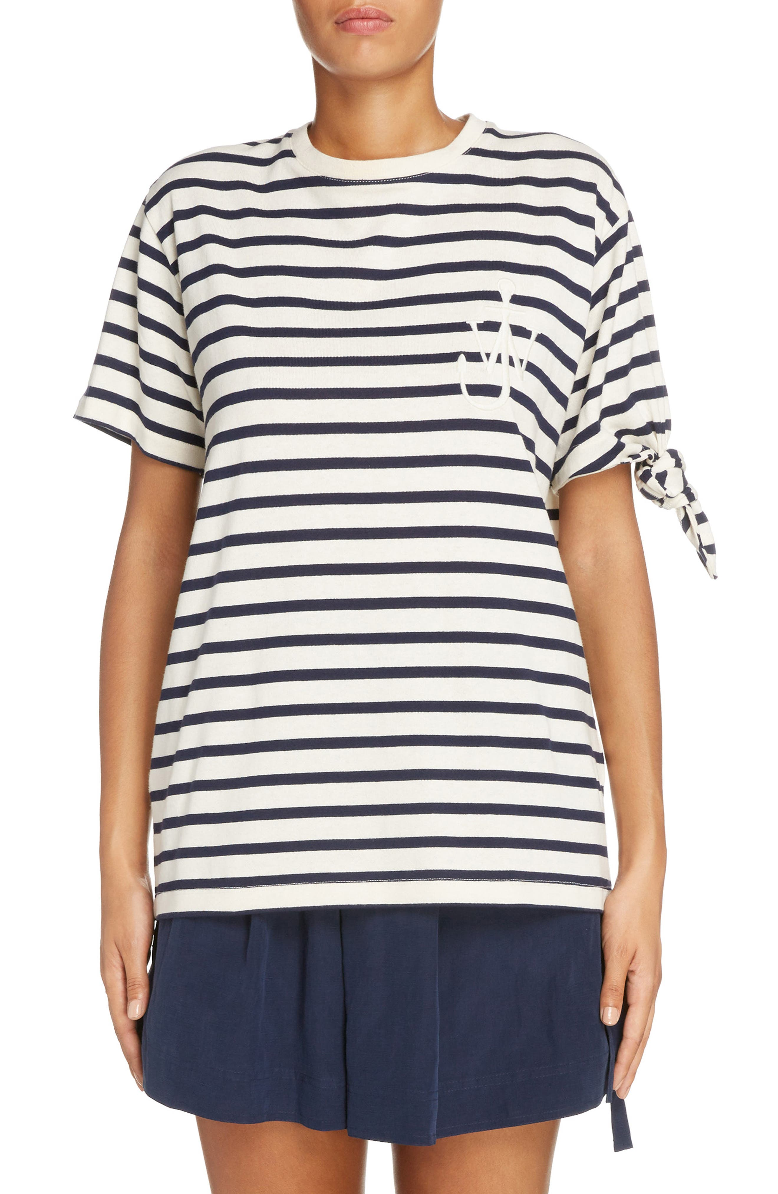 Alternate Image 1 Selected - J.W.ANDERSON Breton Stripe Knot Sleeve Tee