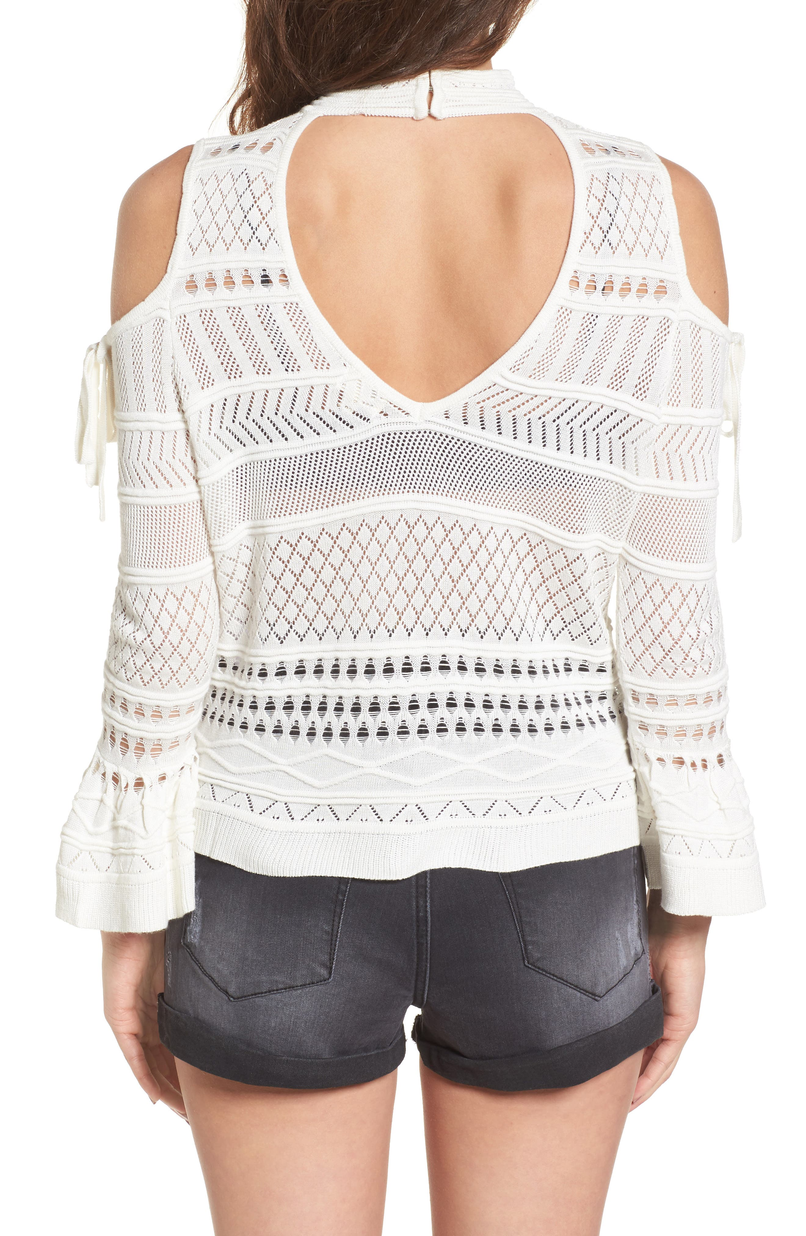 Annabel Cold Shoulder Pointelle Sweater,                             Alternate thumbnail 3, color,                             Ivory
