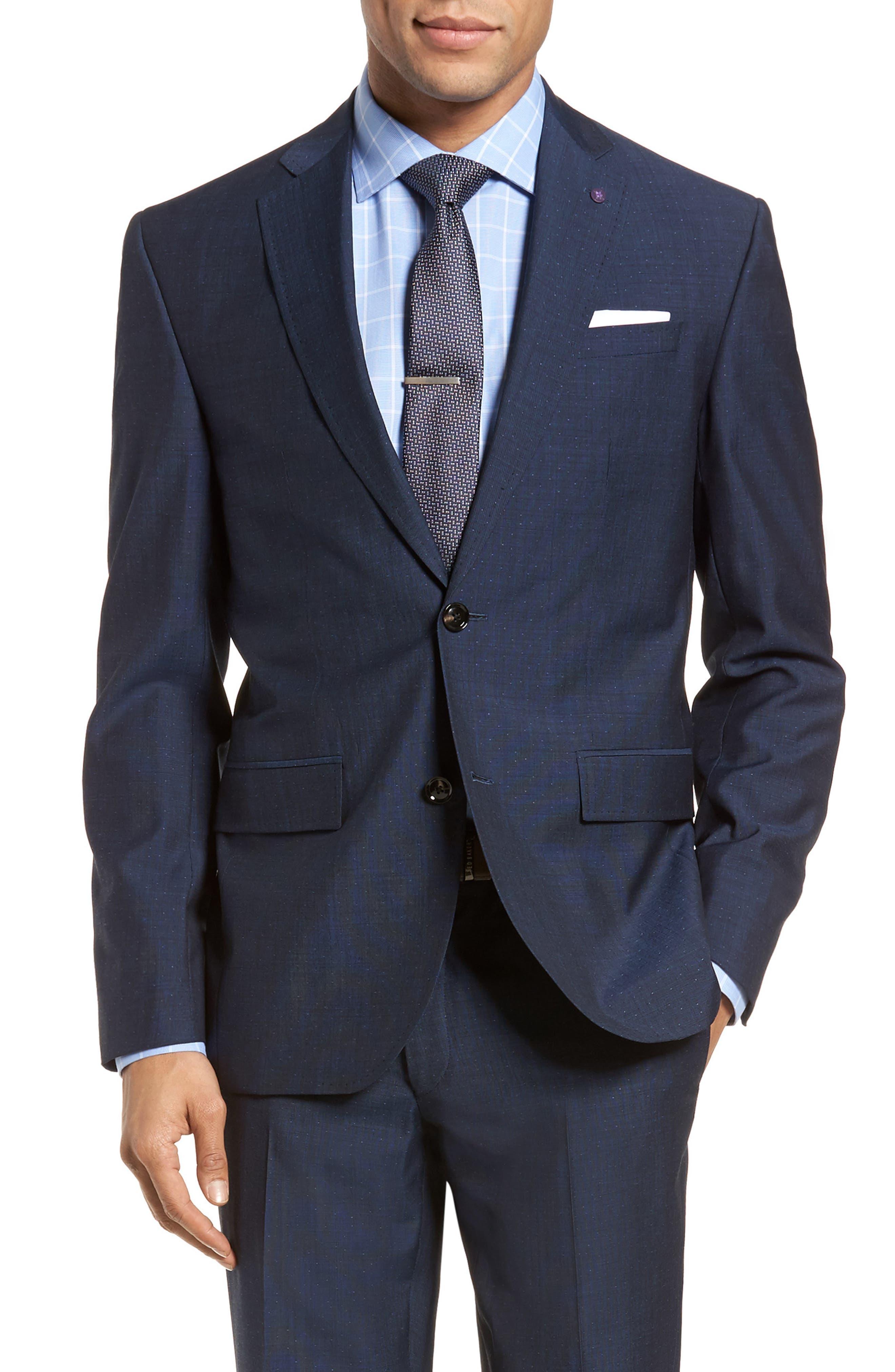 Roger Extra Slim Fit Dot Wool Suit,                             Alternate thumbnail 6, color,                             Dark Blue