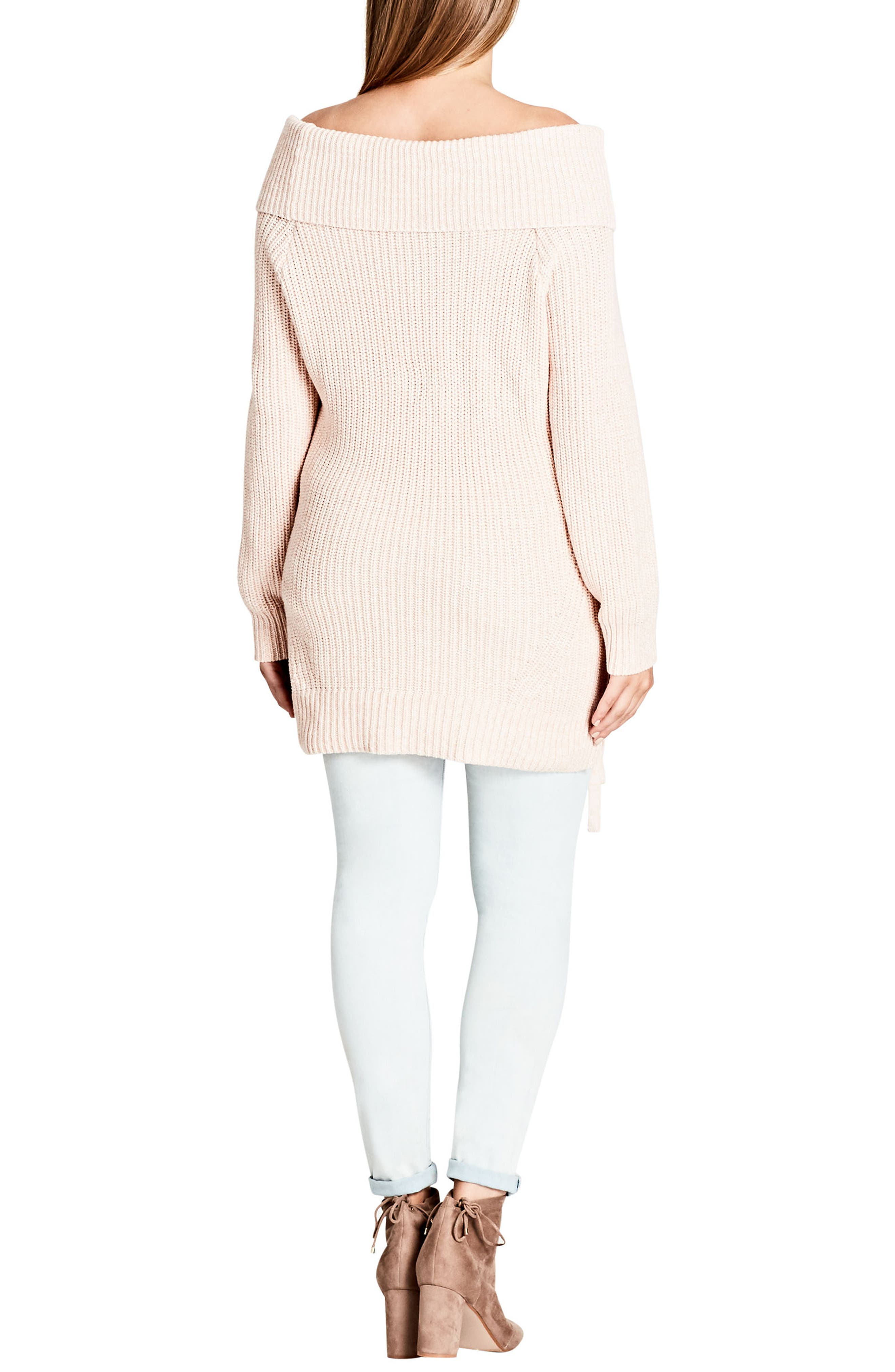 Alternate Image 4  - City Chic Intertwine Convertible Lace-Up Pullover (Plus Size)