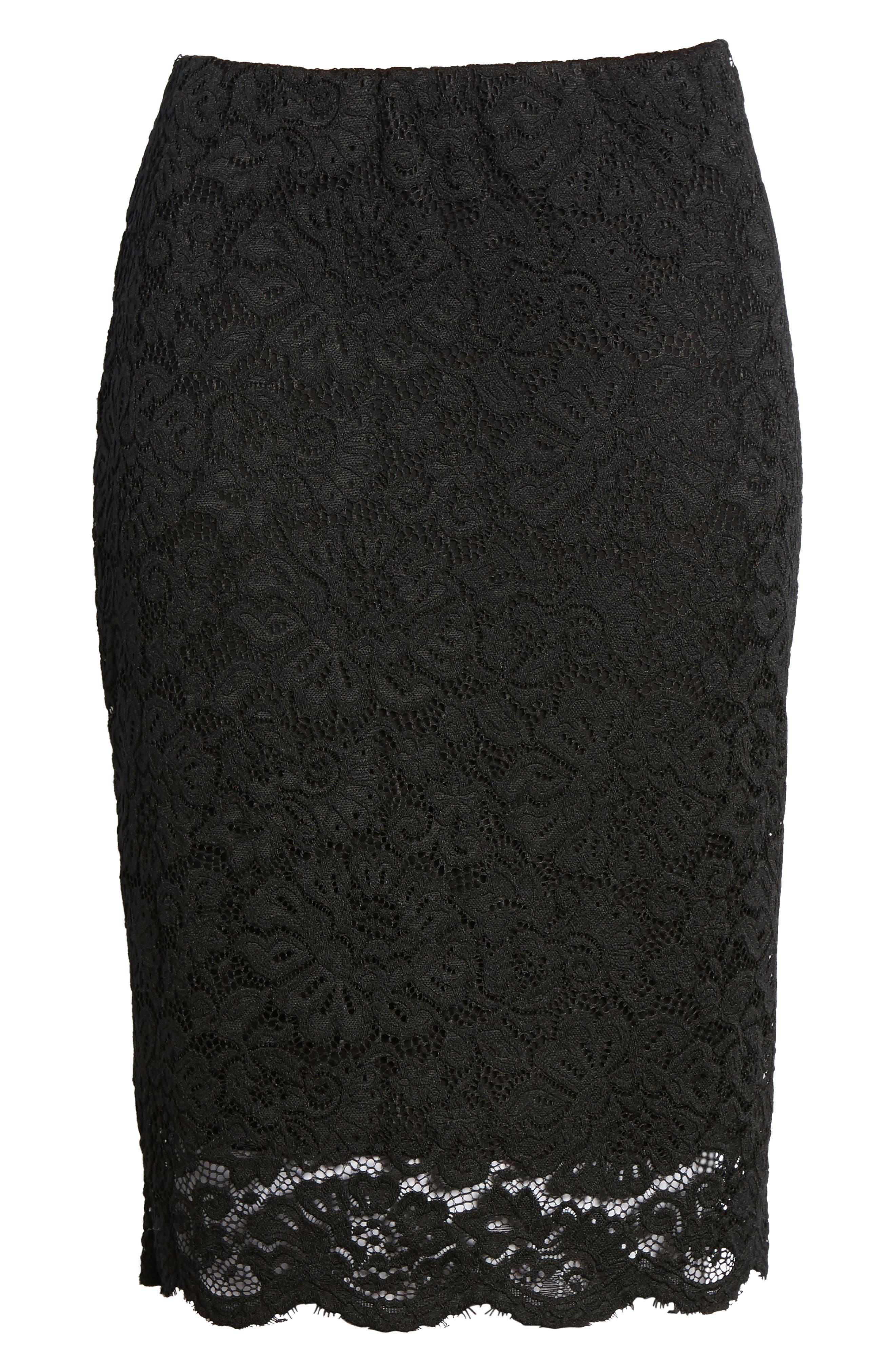 Filippa Scalloped Lace Skirt,                             Alternate thumbnail 6, color,                             Black