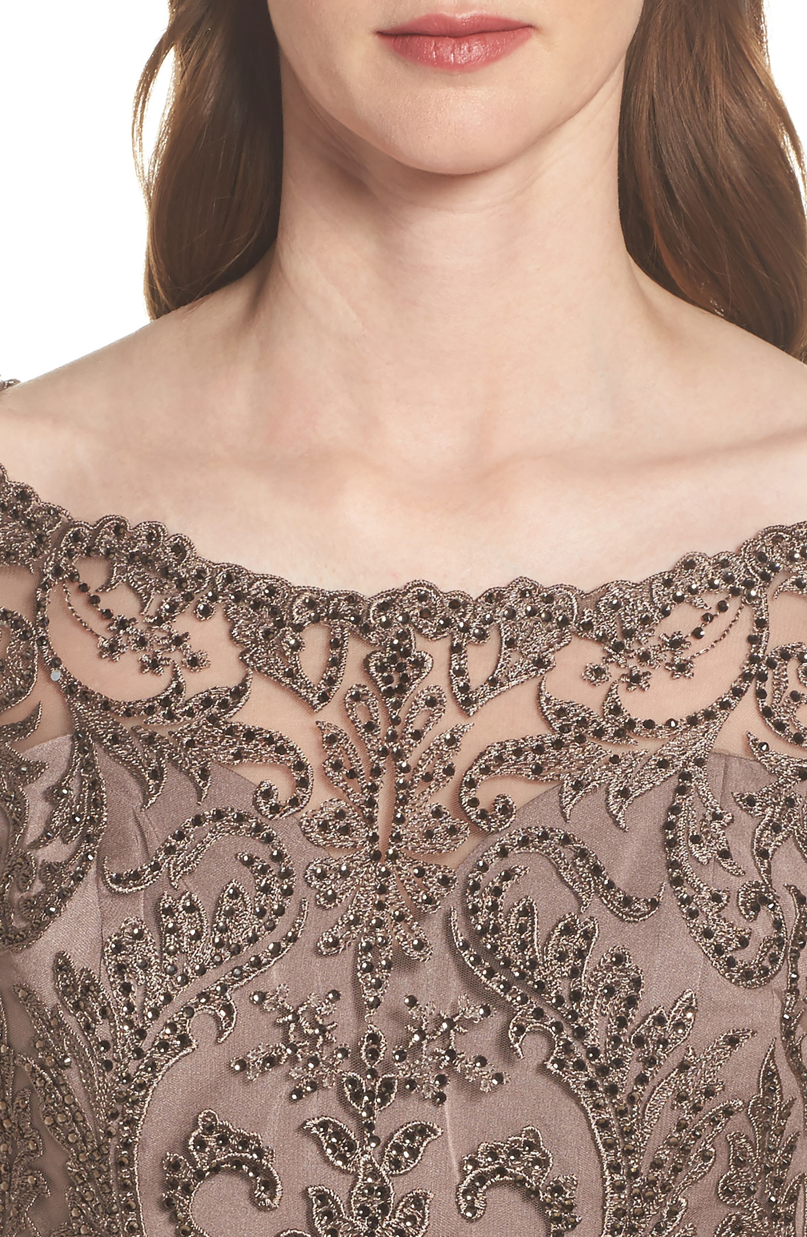 Beaded Lace Ruched Gown,                             Alternate thumbnail 4, color,                             Cocoa