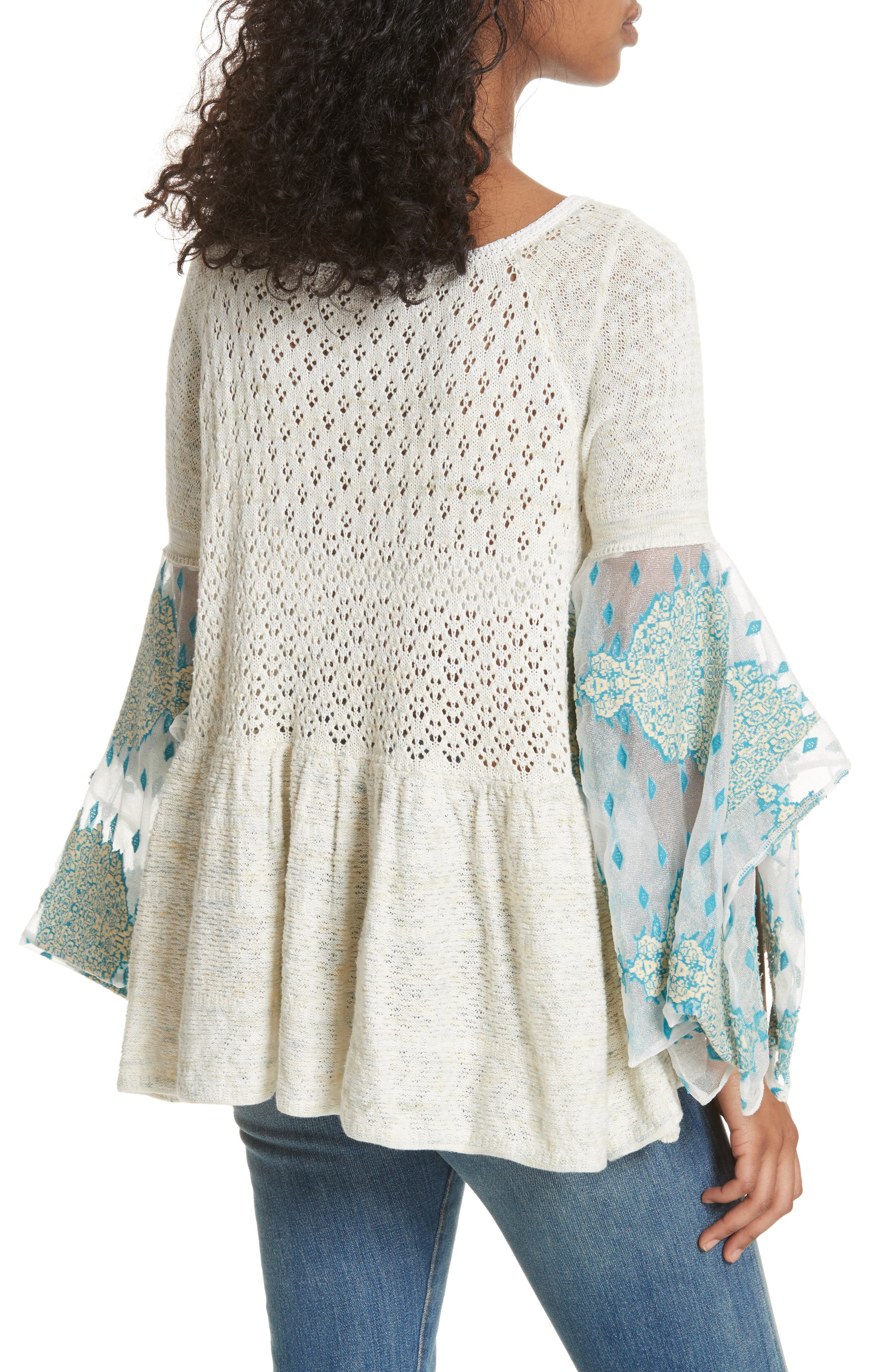 Pointelle Breeze Bell Sleeve Top,                             Alternate thumbnail 2, color,                             Ivory Combo