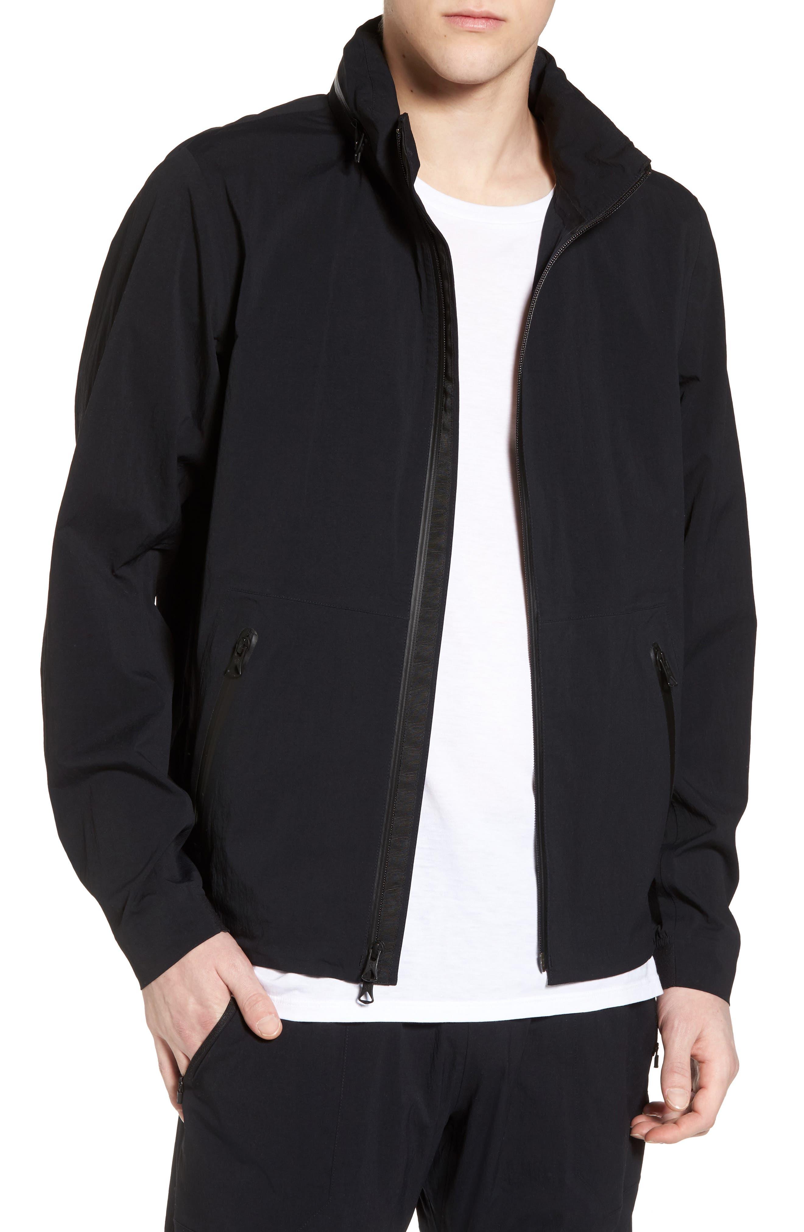 Stow Away Hood Waterproof Jacket,                         Main,                         color, Black