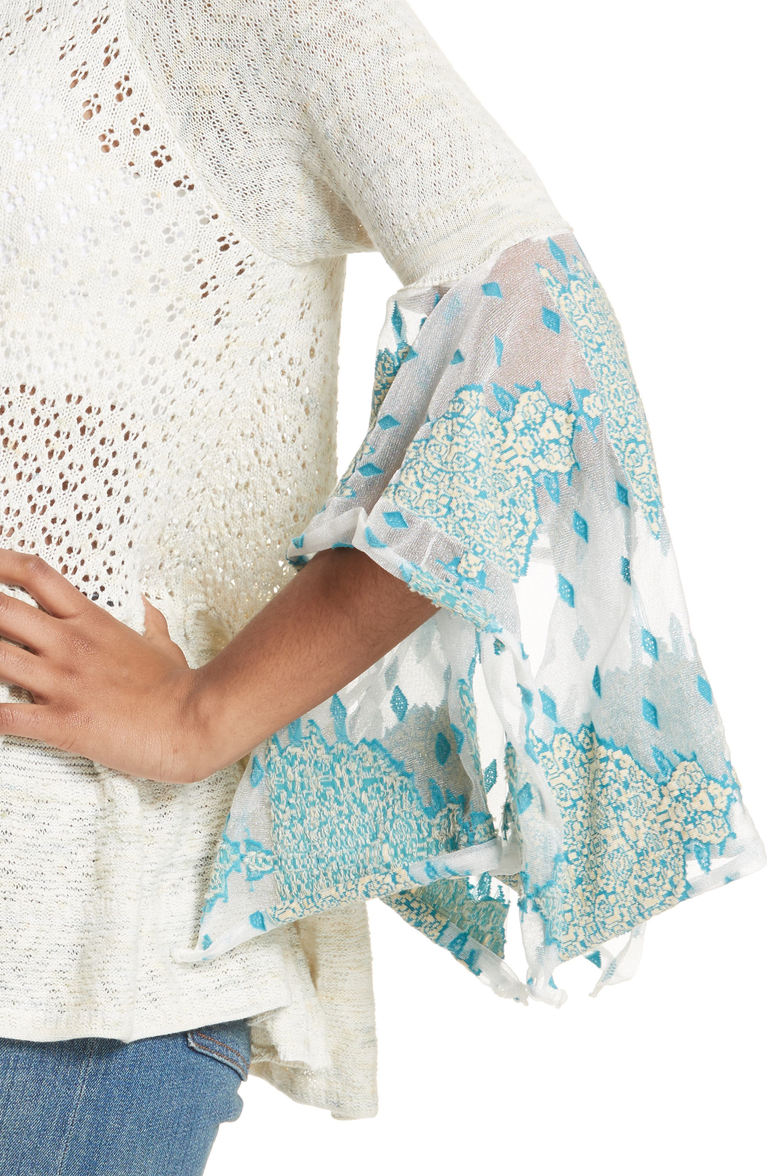 Pointelle Breeze Bell Sleeve Top,                             Alternate thumbnail 4, color,                             Ivory Combo