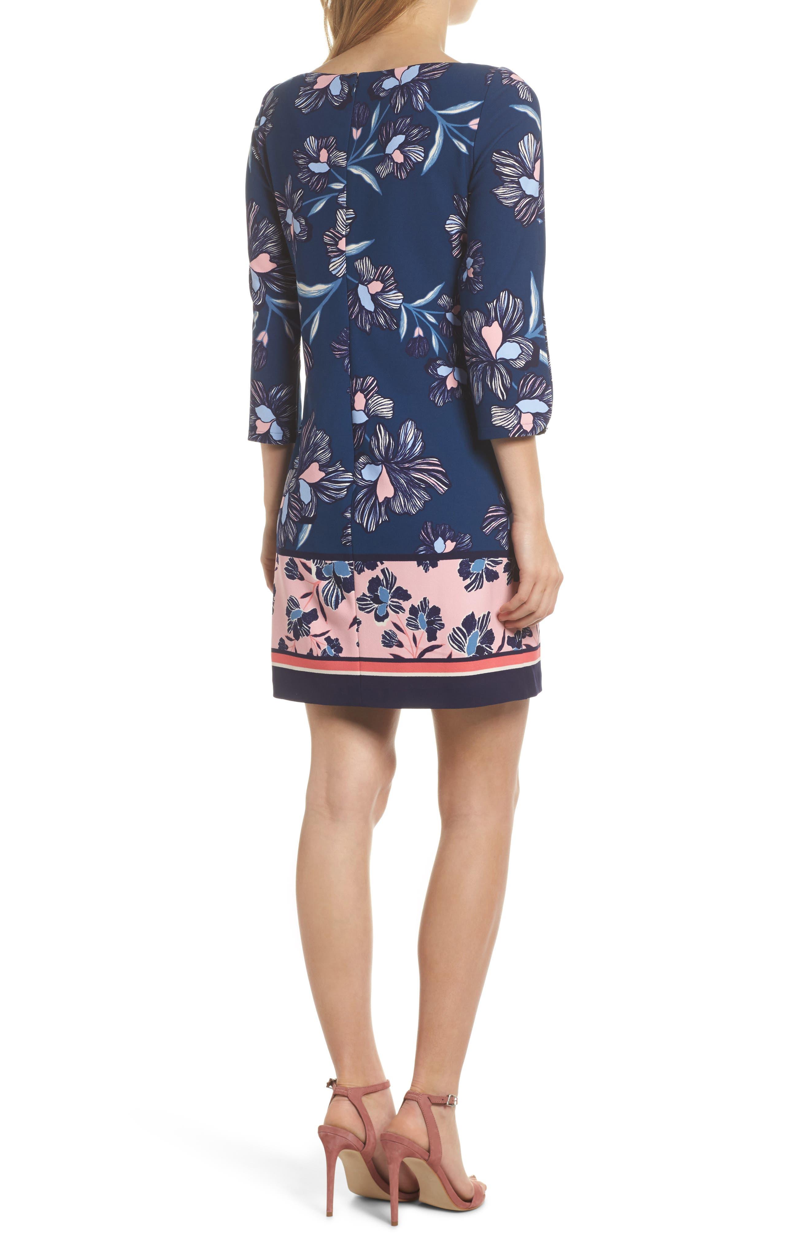 Floral Print Crepe Shift Dress,                             Alternate thumbnail 2, color,                             Navy Multi
