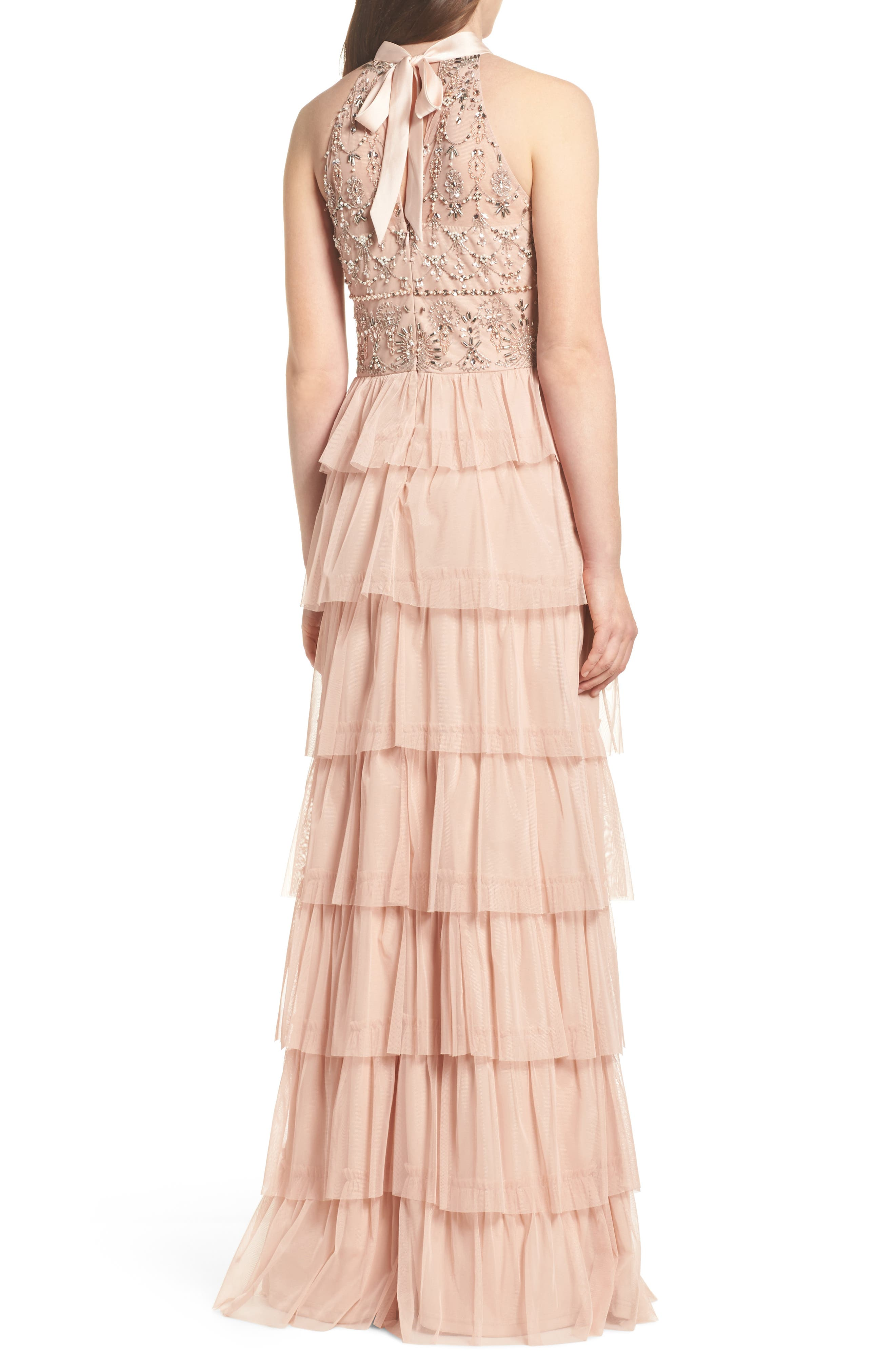Embellished Tiered Maxi Dress,                             Alternate thumbnail 2, color,                             Blush