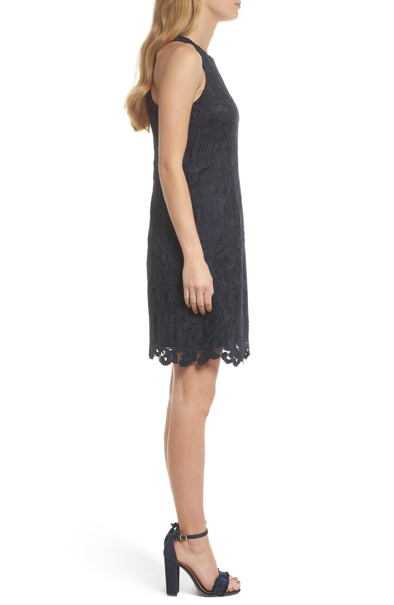 Lace Sheath Dress,                             Alternate thumbnail 5, color,                             Navy