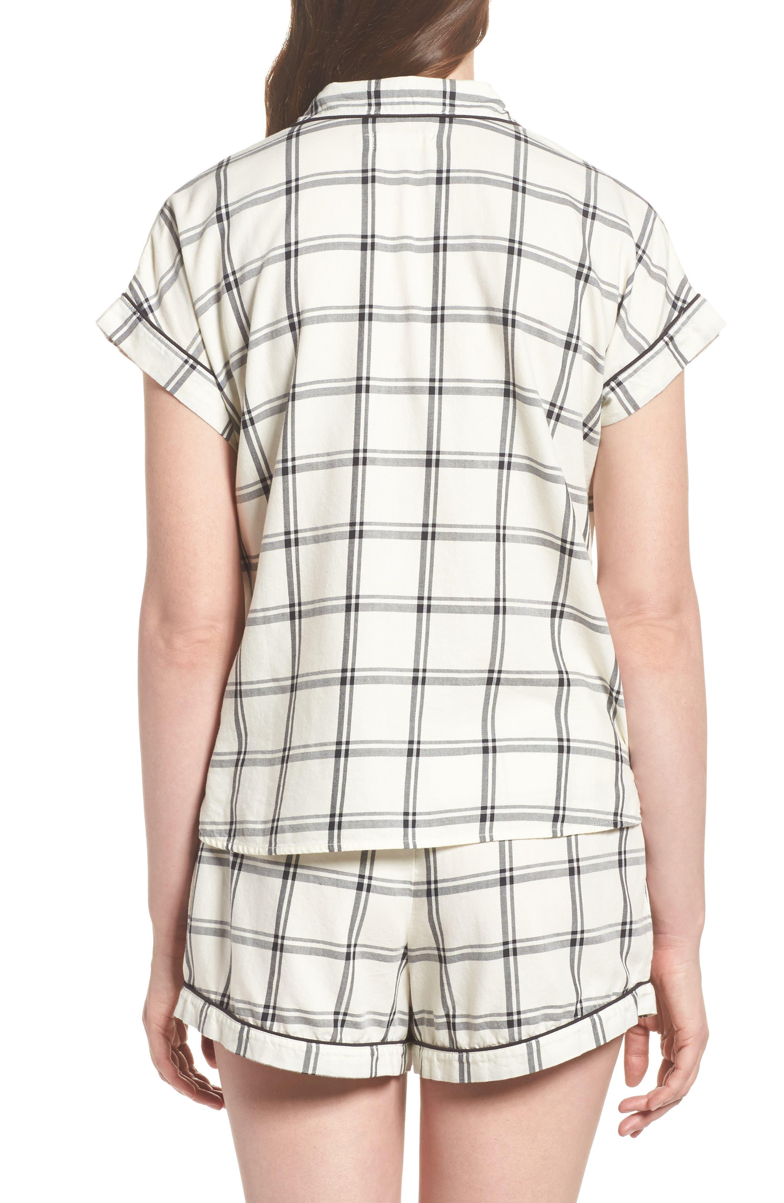 Amelia Short Pajamas,                             Alternate thumbnail 2, color,                             Cream/ Black