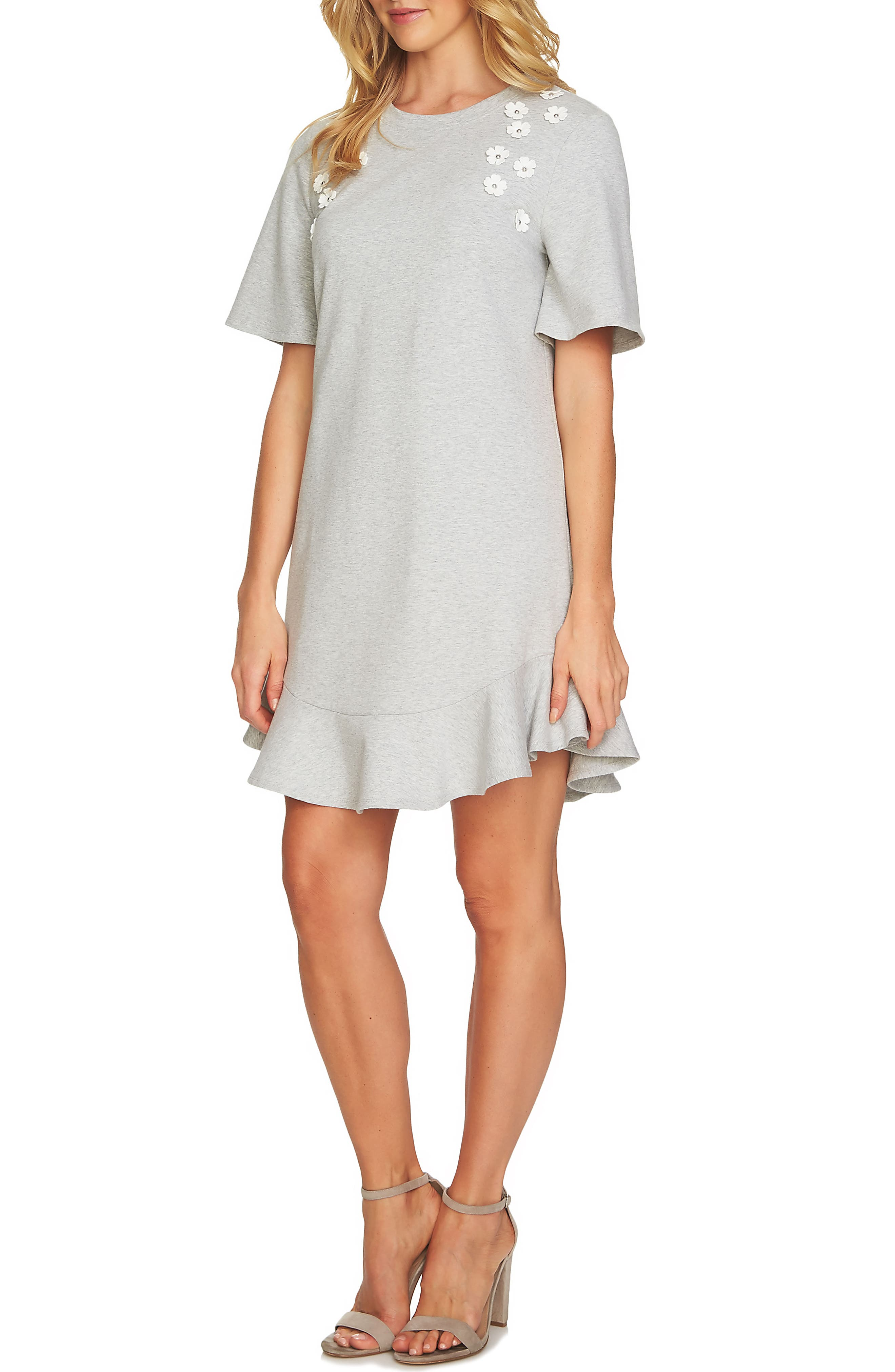 Embellished French Terry Shirtdress,                             Main thumbnail 1, color,                             Grey Heather