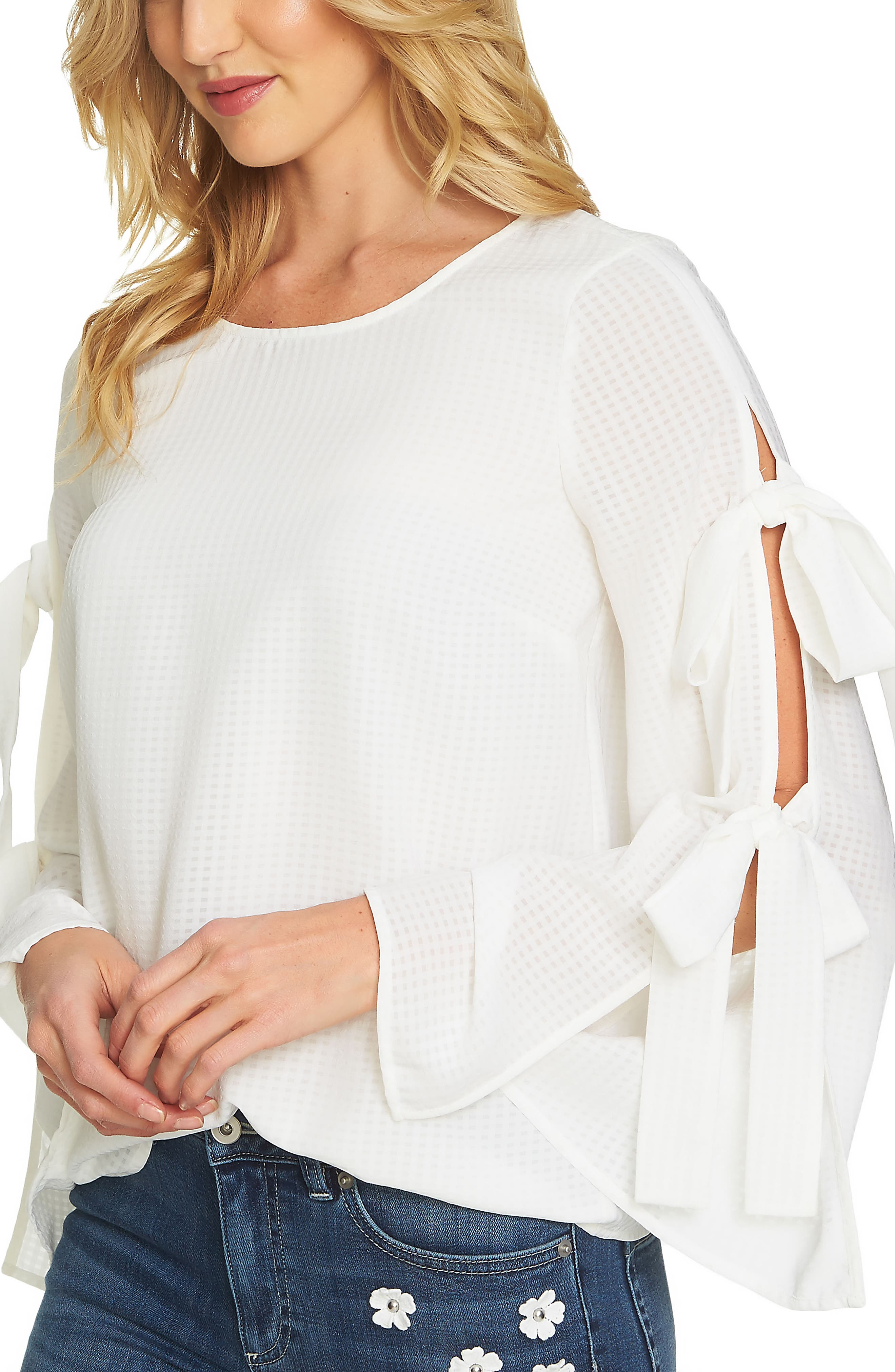 Split Bell Sleeve Blouse,                         Main,                         color, Antique White