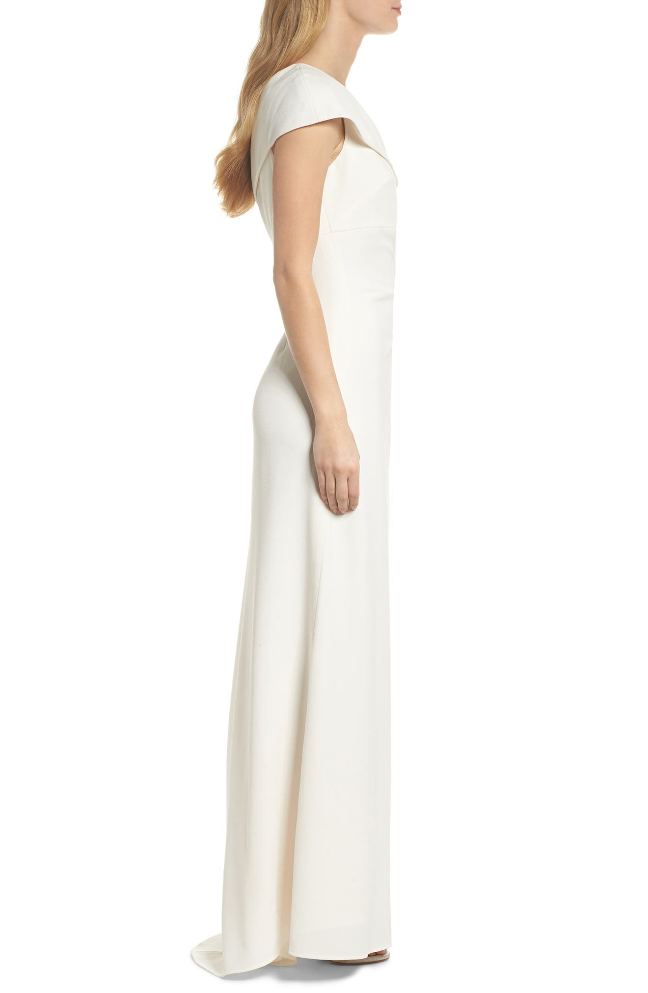 One-Shoulder Crepe Gown,                             Alternate thumbnail 3, color,                             Ivory