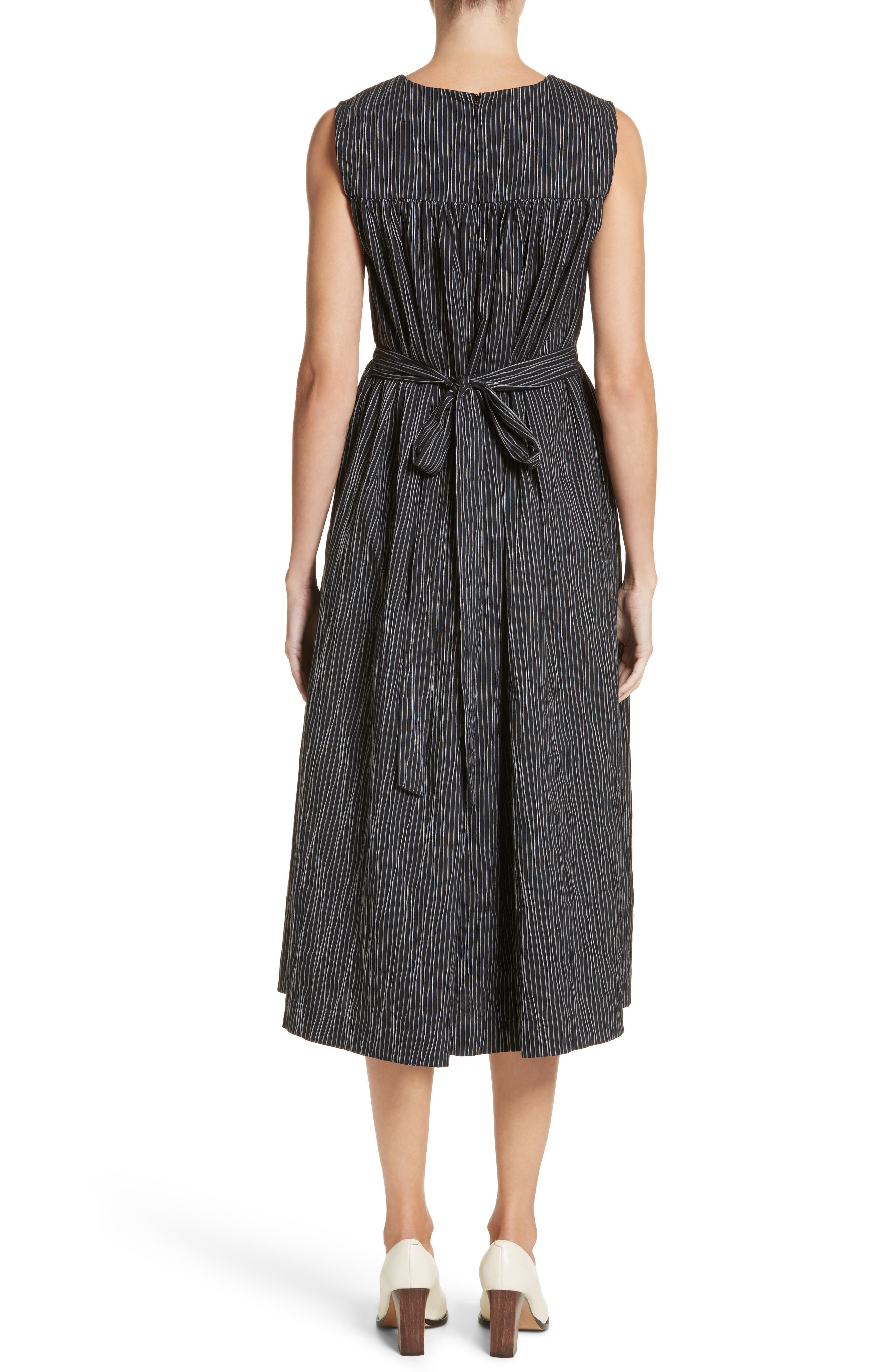 Stripe Crinkle Cotton Blend Midi Dress,                             Alternate thumbnail 2, color,                             Black/ White Stripe