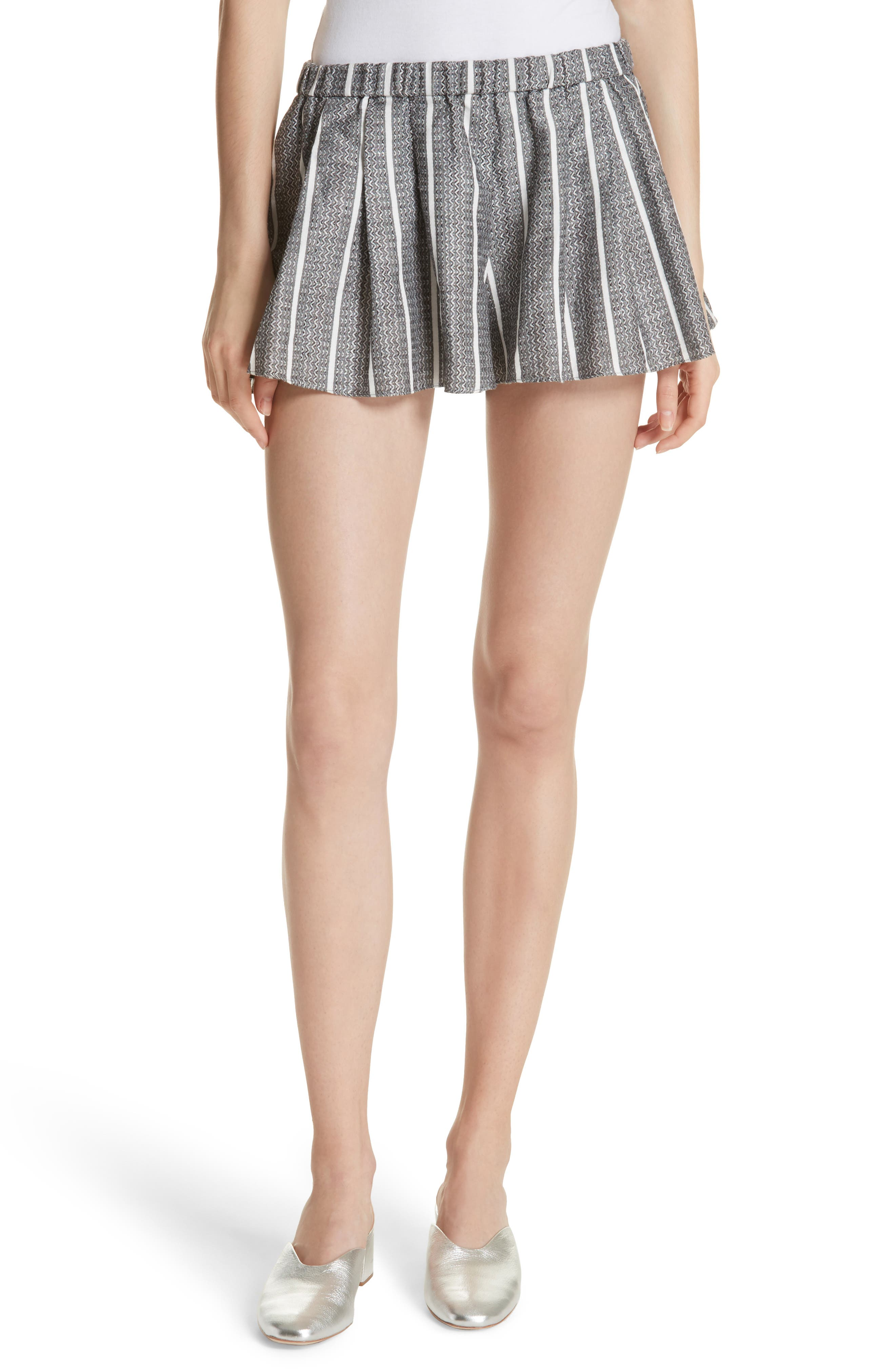 Pleated Shorts,                         Main,                         color, Black