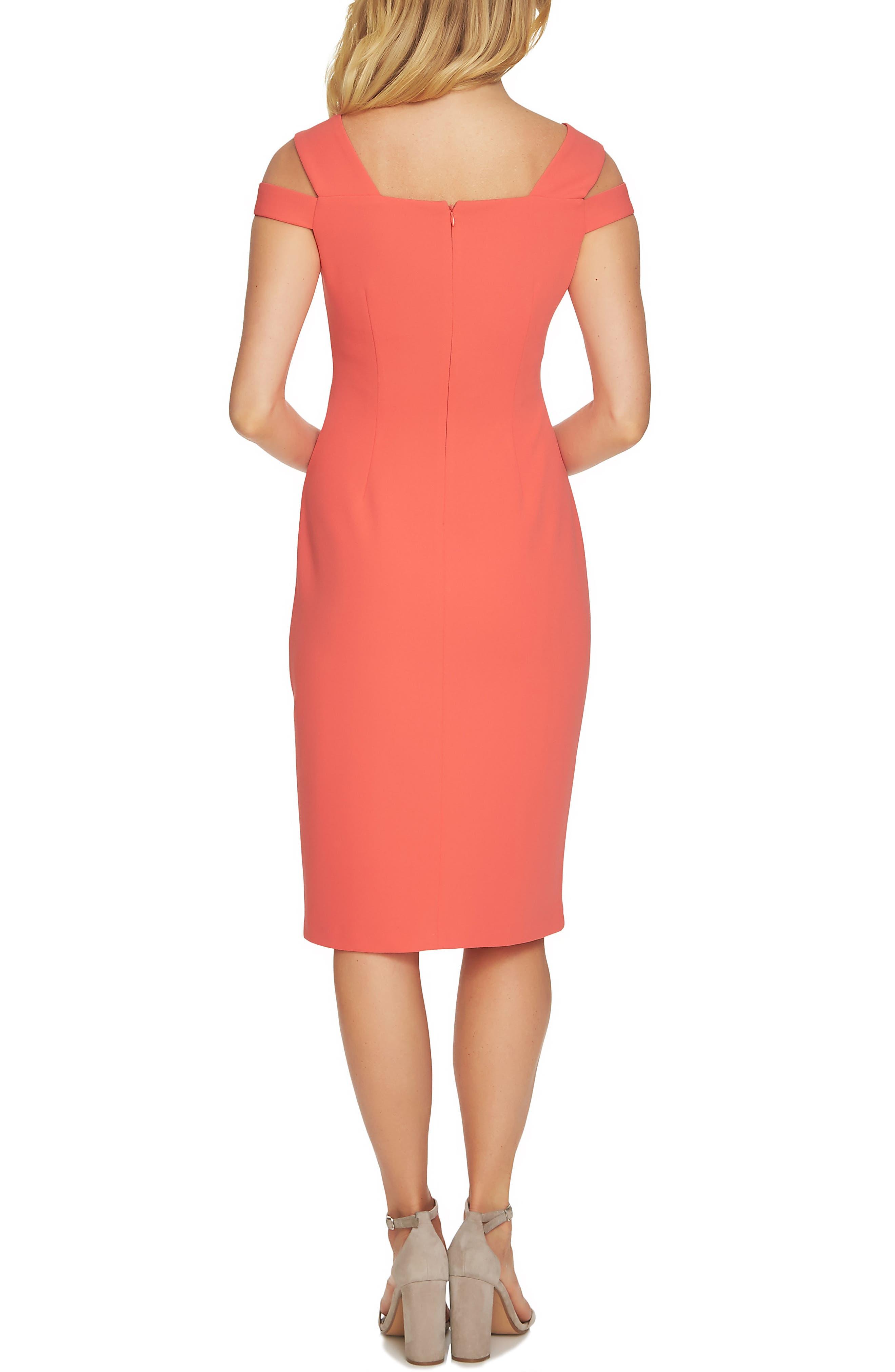 Cold Shoulder Crisscross A-Line Dress,                             Alternate thumbnail 2, color,                             Coral Bloom