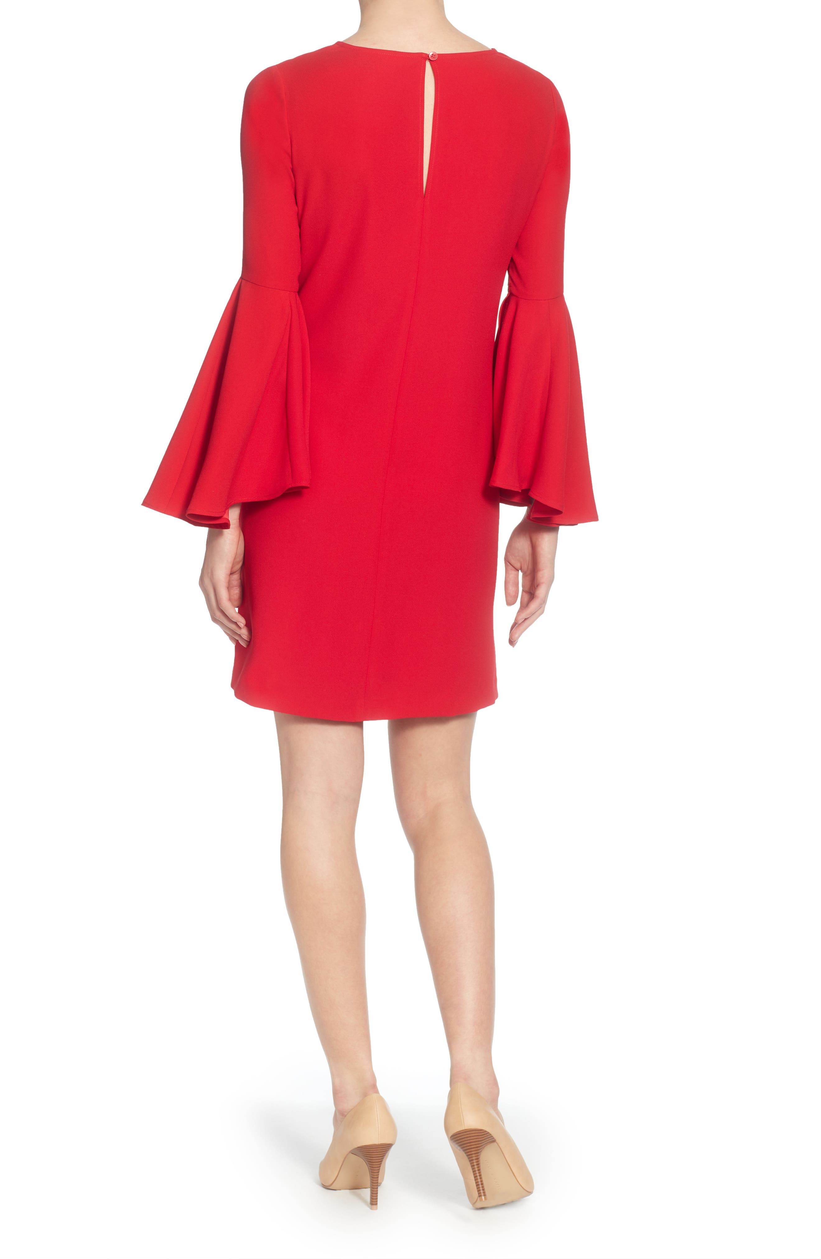 Claudette Shift Dress,                             Alternate thumbnail 2, color,                             Lipstick Red