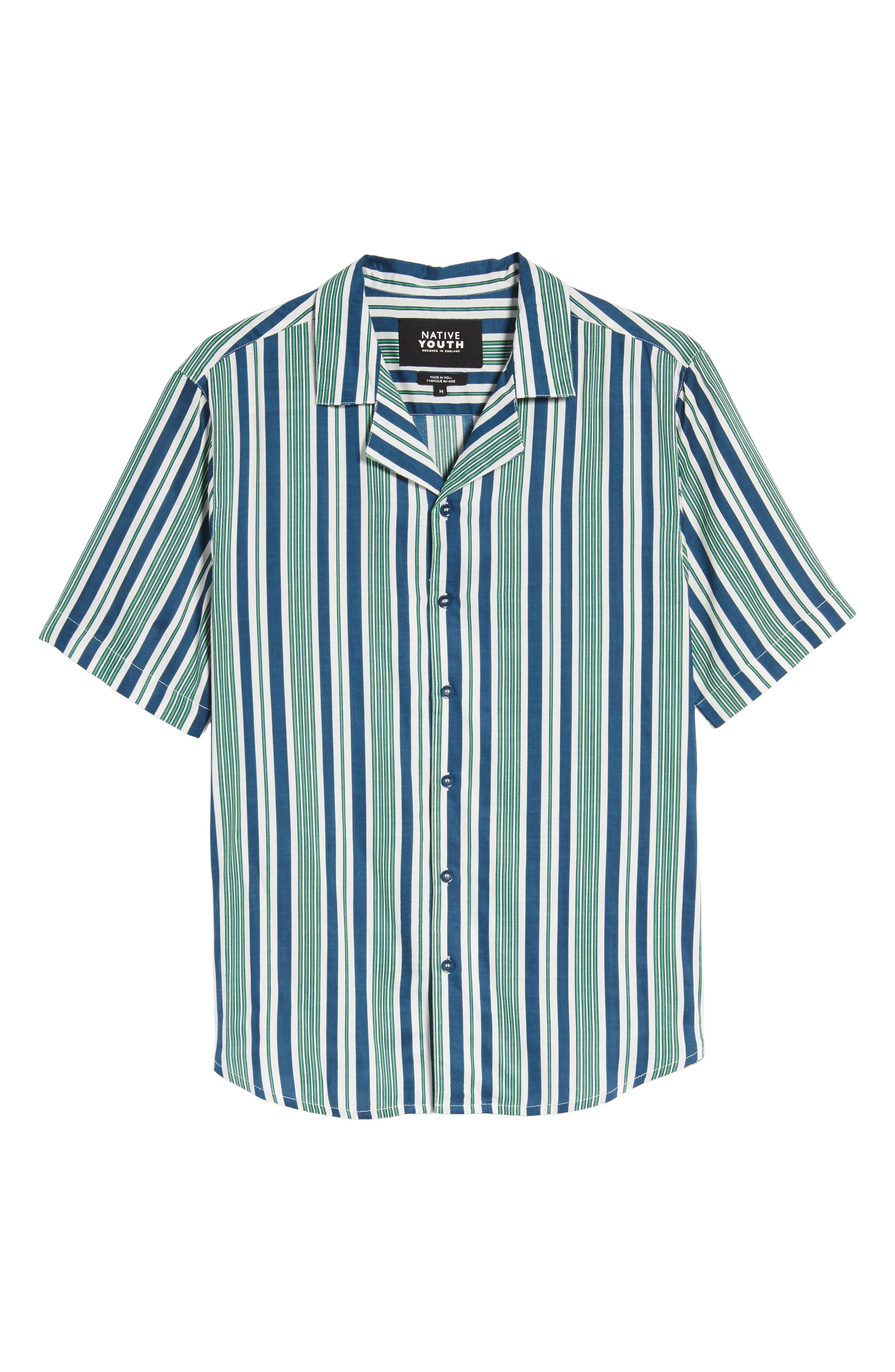 Bay Stripe Woven Shirt,                             Alternate thumbnail 6, color,                             Green