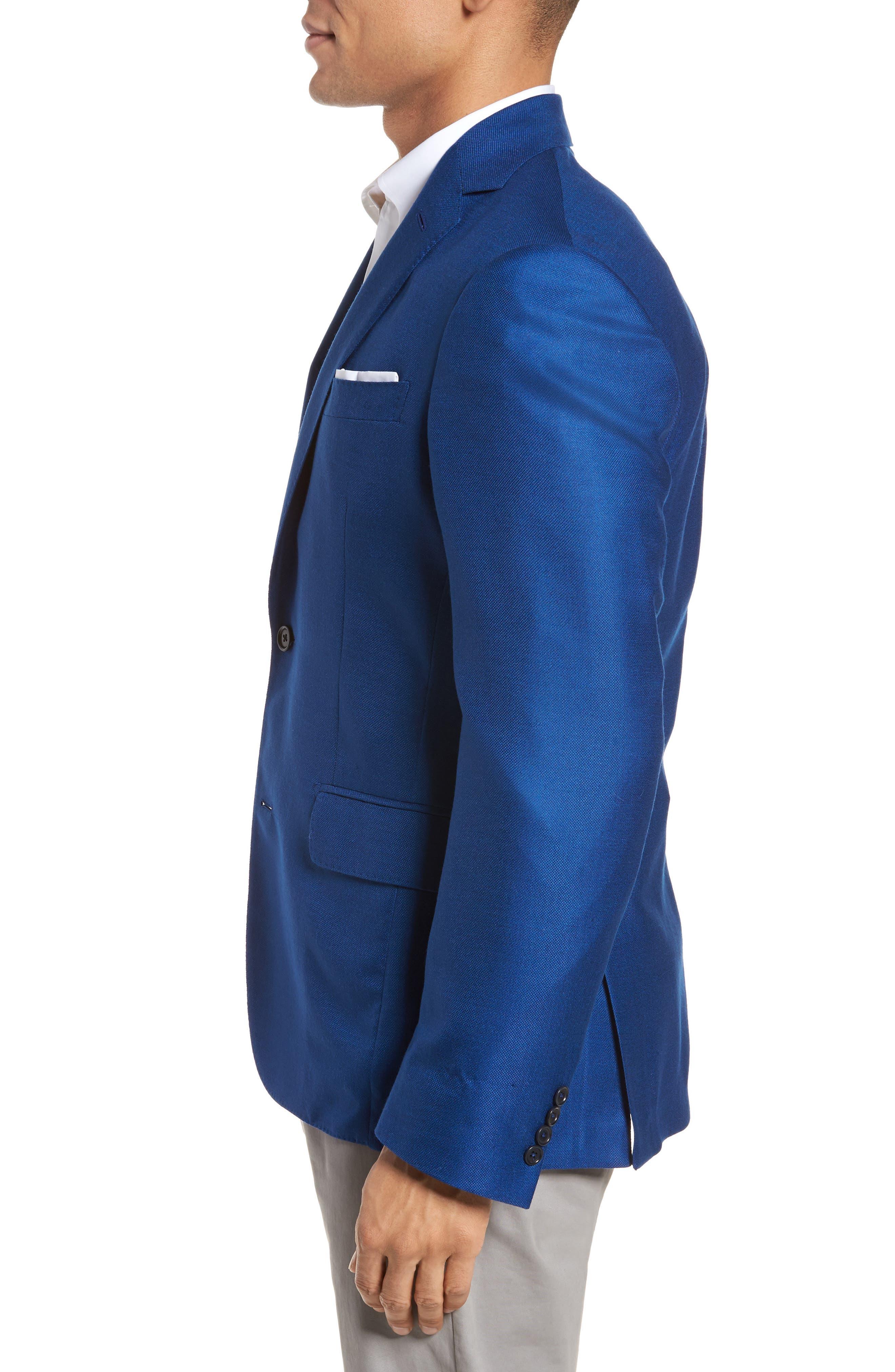 Trim Fit Cashmere & Silk Blazer,                             Alternate thumbnail 3, color,                             Blue