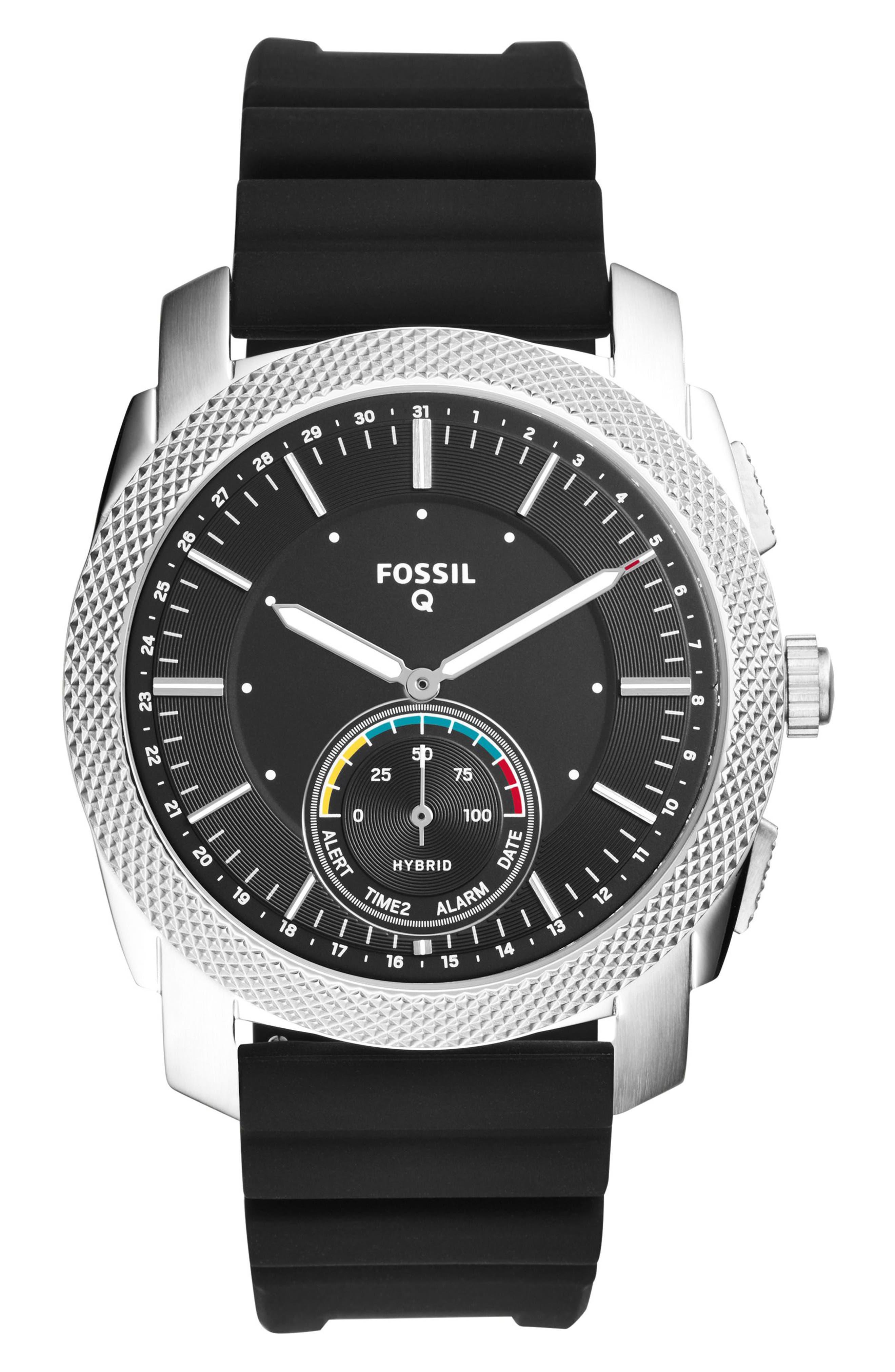 Machine Silicone Strap Hybrid Smart Watch, 45mm,                         Main,                         color, Black/ Silver