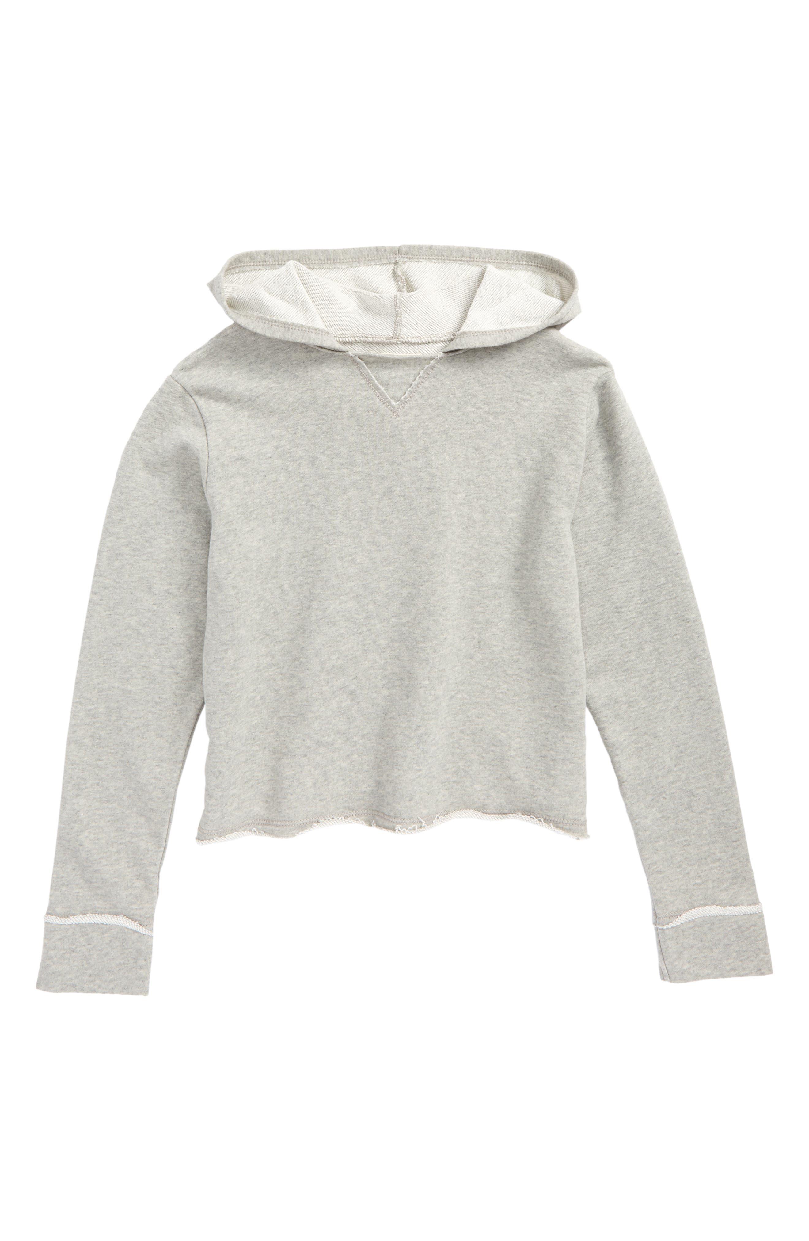 Raw Edge Fleece Hoodie,                         Main,                         color, Grey Medium Heather