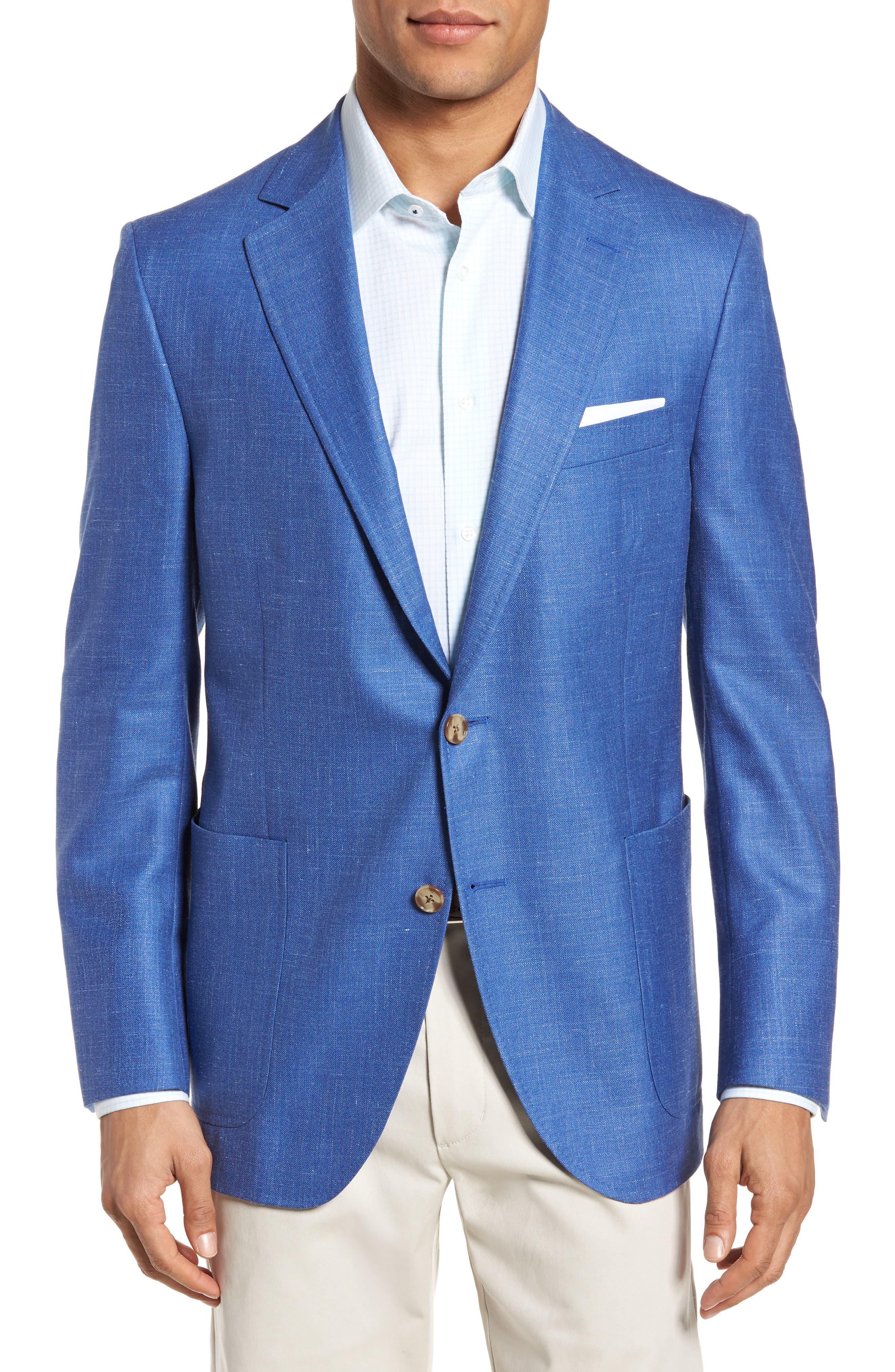 Classic Fit Wool Blend Blazer,                         Main,                         color, Blue