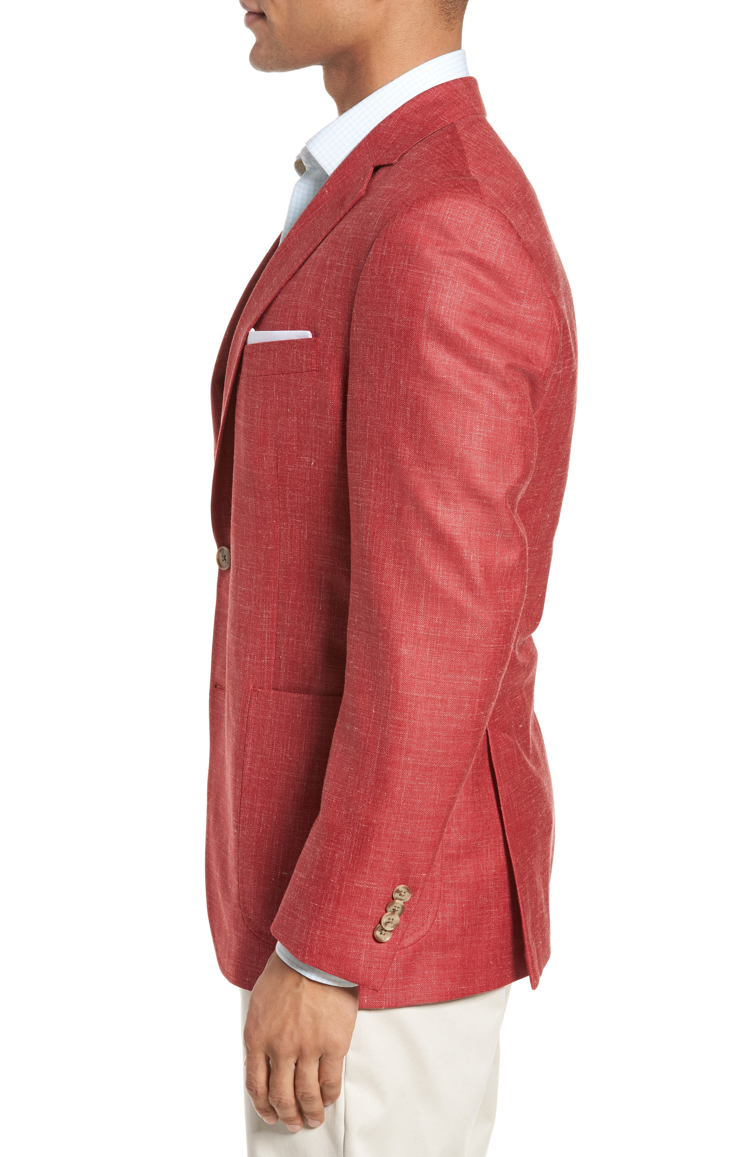 Classic Fit Wool Blend Blazer,                             Alternate thumbnail 3, color,                             Coral