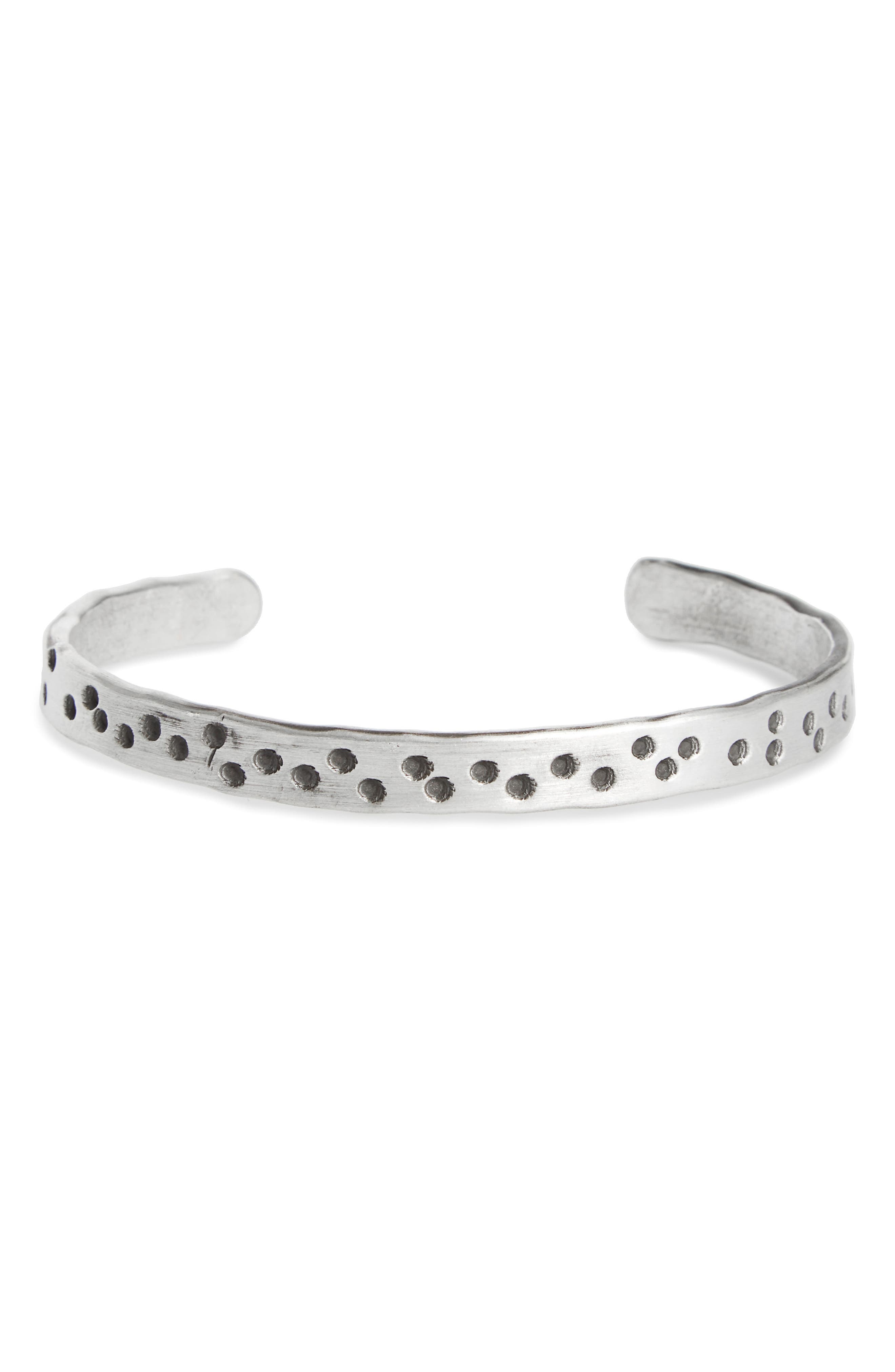 Cause & Effect Sterling Silver Cuff Bracelet,                             Main thumbnail 1, color,                             Silver