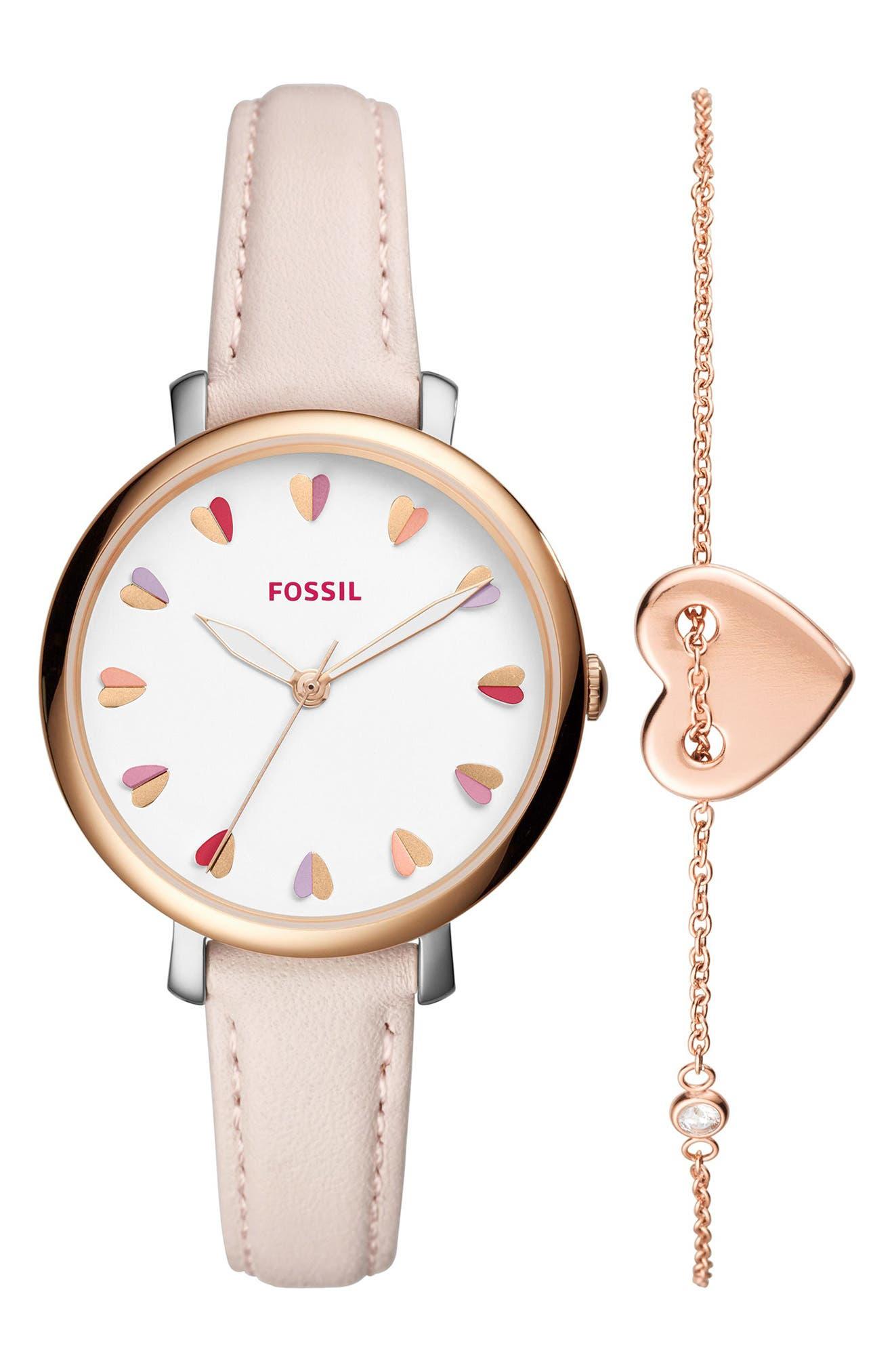 Fossil Jacqueline Leather Strap Watch & Bracelet Set, 36mm