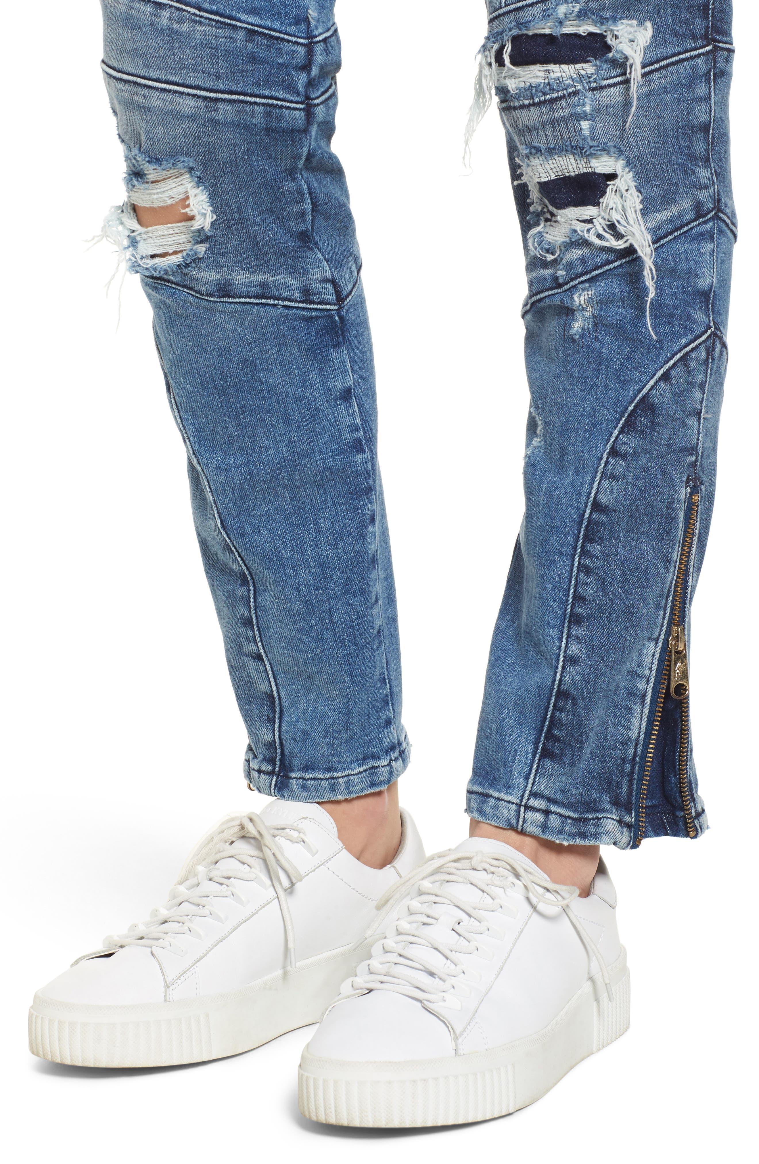 x Gigi Hadid Speed Distressed Ankle Zip Jeans,                             Alternate thumbnail 5, color,                             Mid Blue