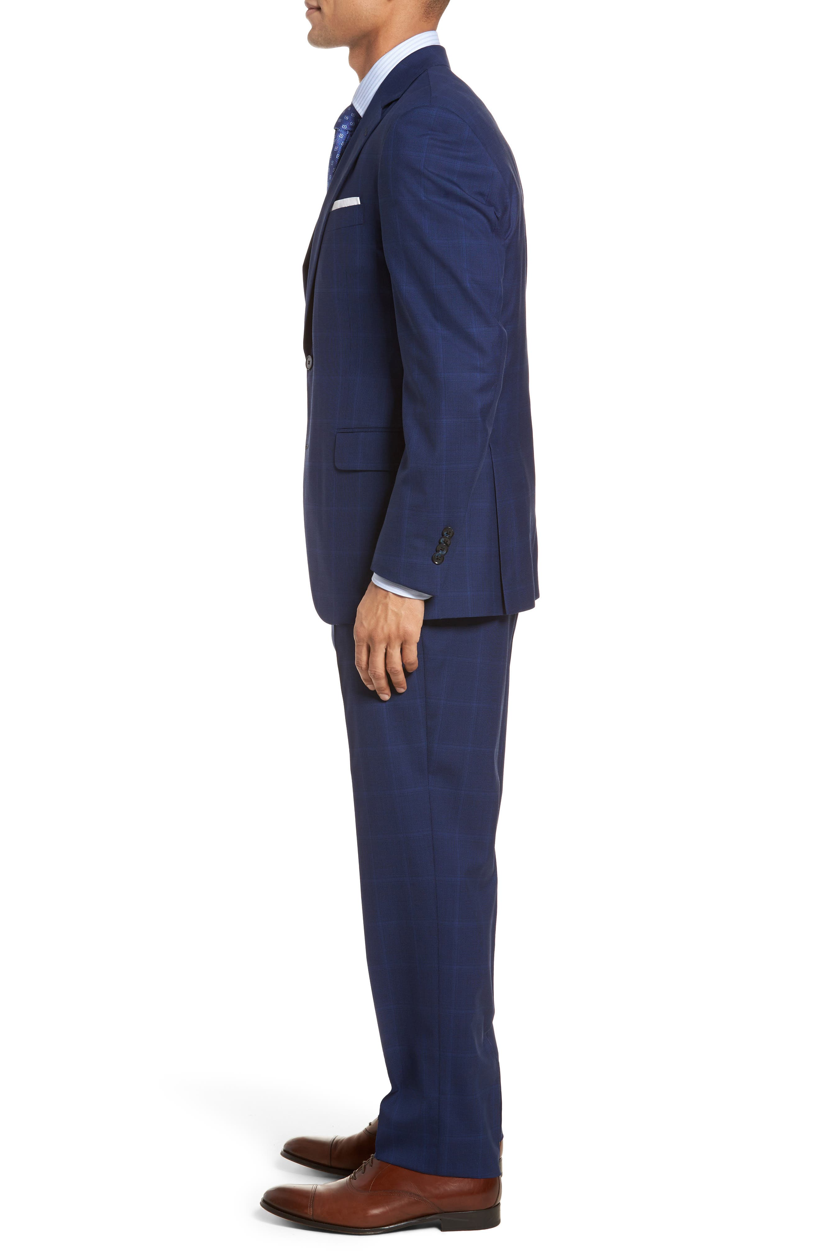 Classic Fit Windowpane Wool Suit,                             Alternate thumbnail 3, color,                             Navy