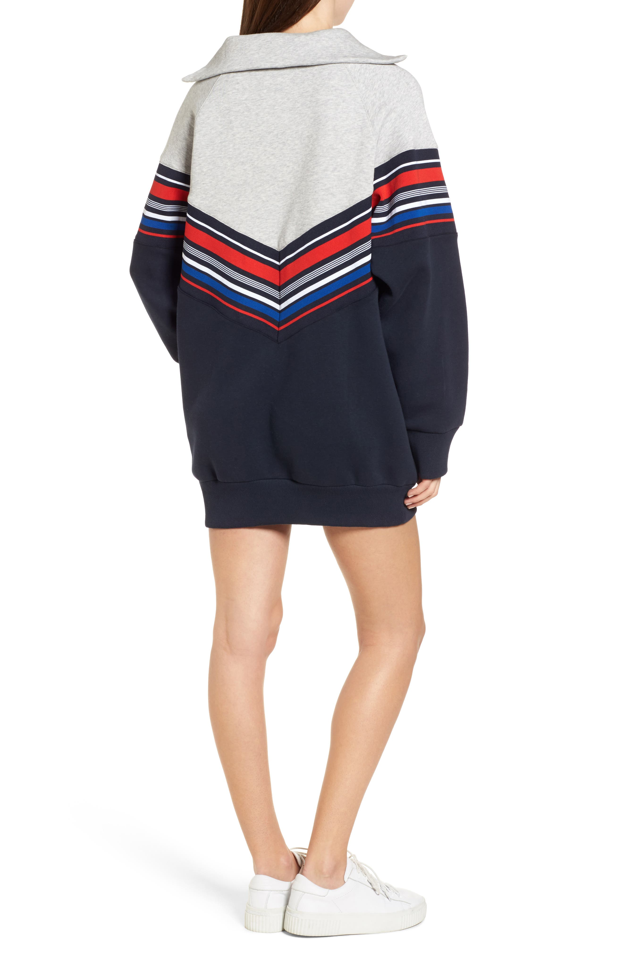 x Gigi Hadid Racing Sweatshirt Dress,                             Alternate thumbnail 2, color,                             Midnight/ Hthr