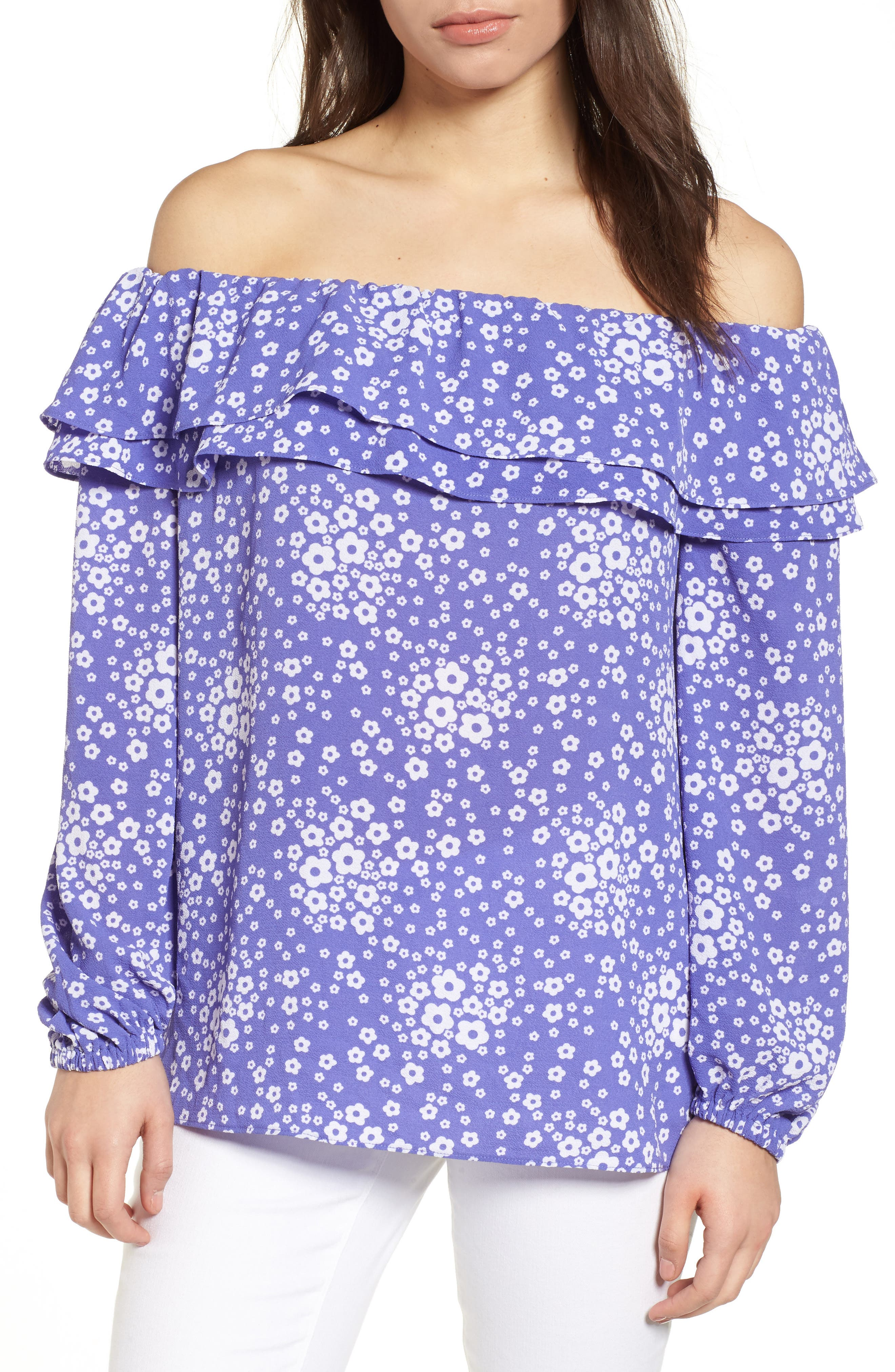 Floral Off the Shoulder Top,                             Main thumbnail 1, color,                             Amethyst/ White