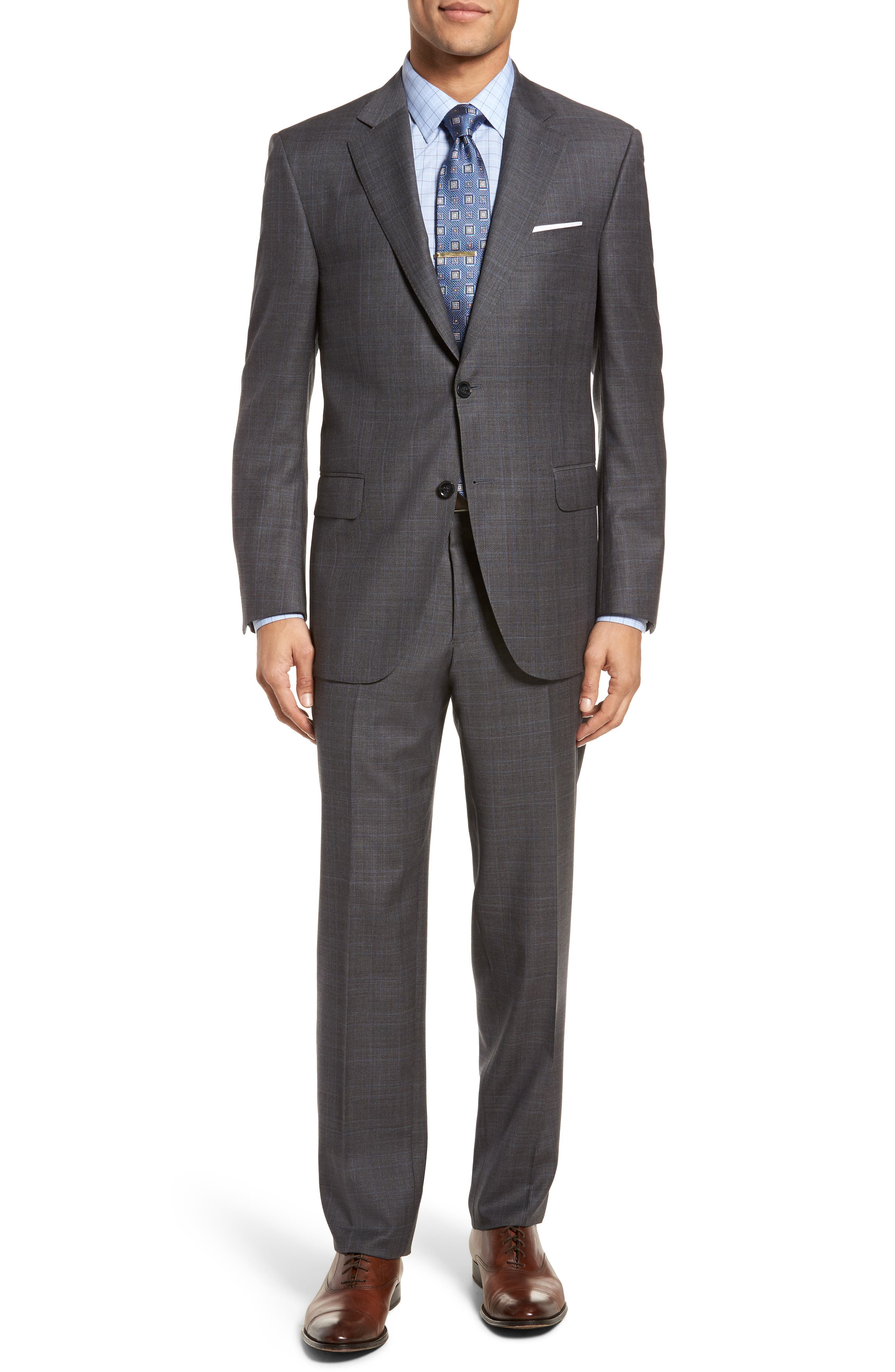Classic Fit Windowpane Wool Suit,                             Main thumbnail 1, color,                             Grey