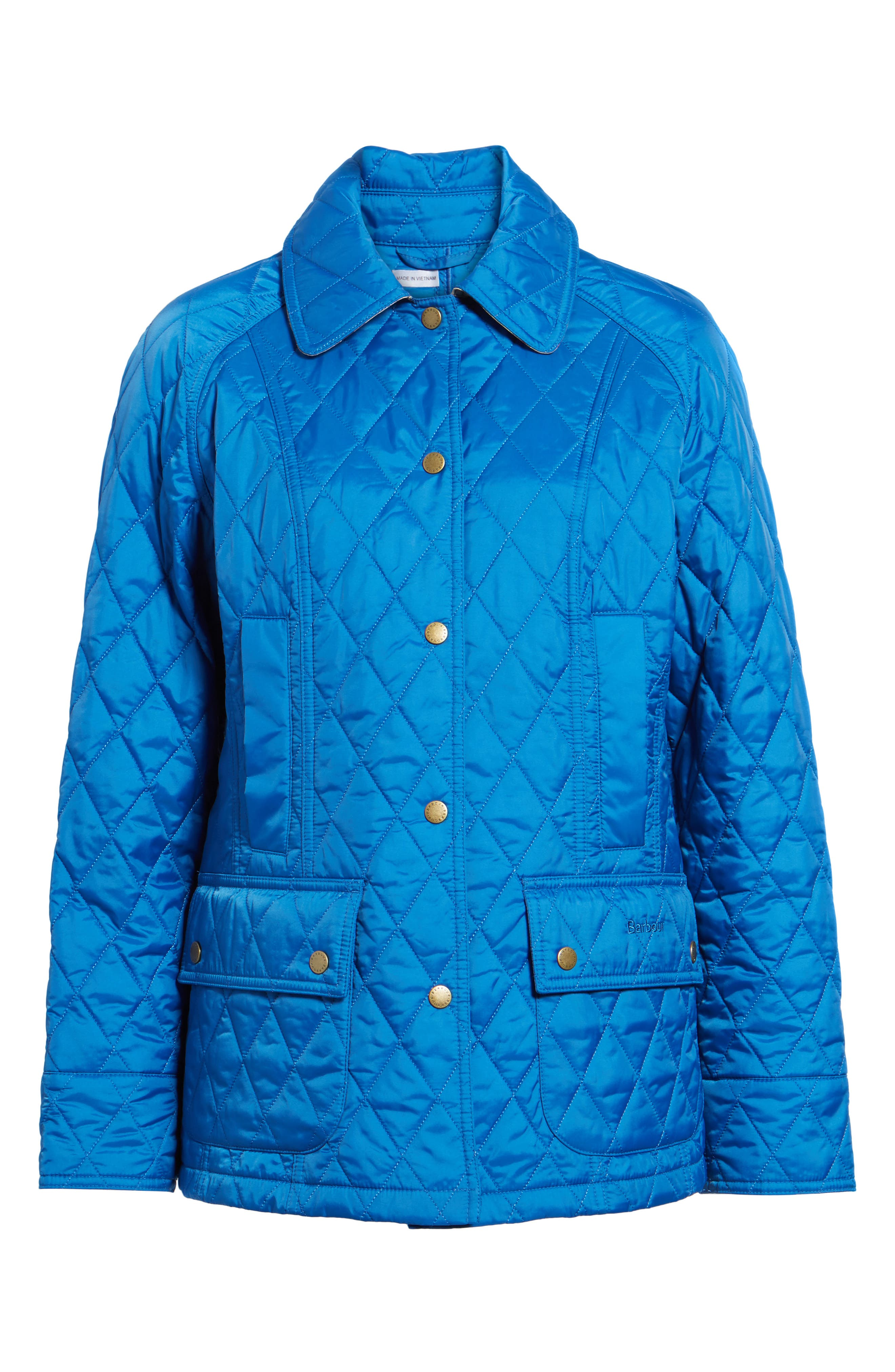 'Beadnell - Summer' Quilted Jacket,                             Alternate thumbnail 6, color,                             Victoria Blue
