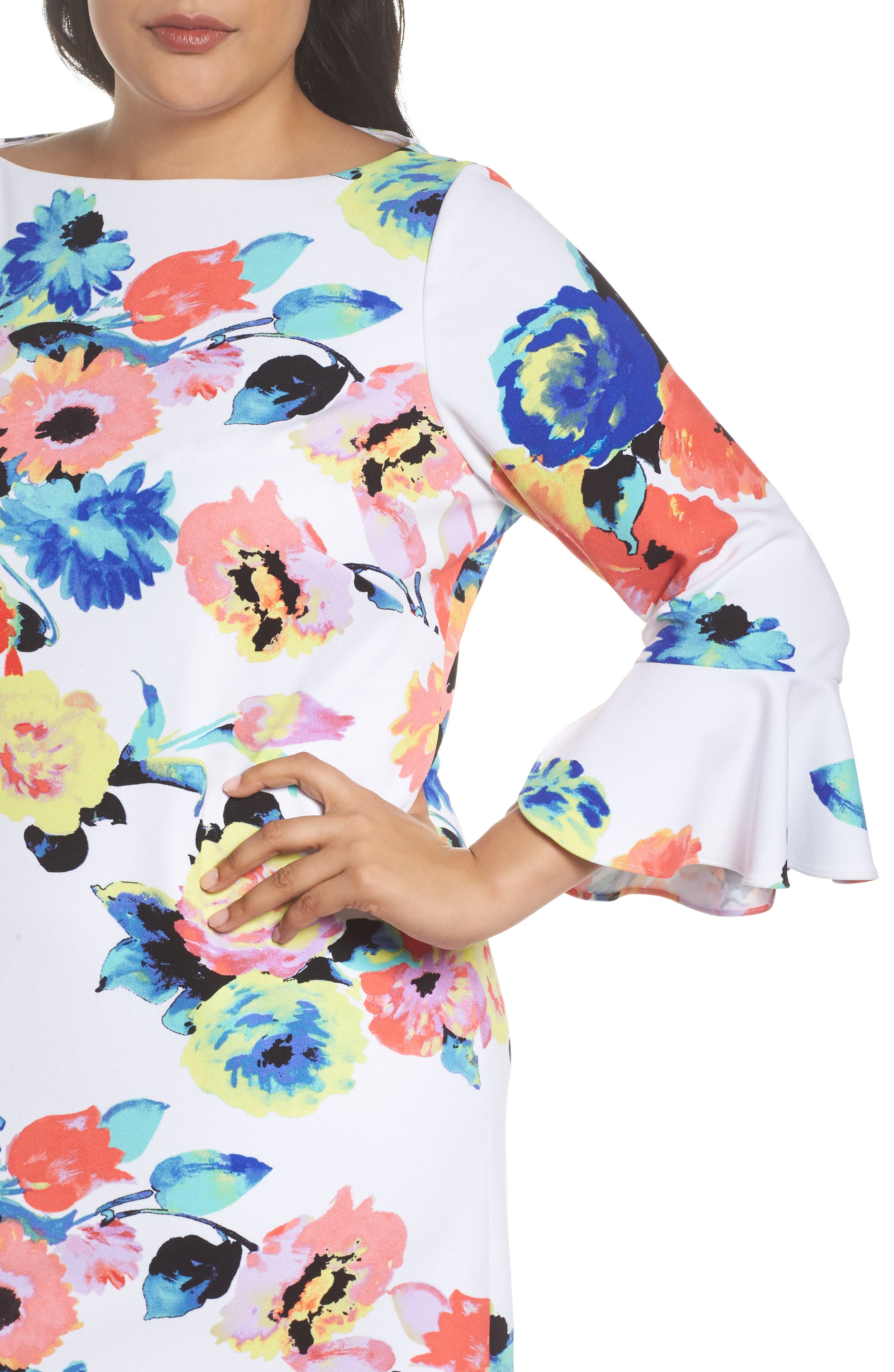 Alternate Image 4  - Tahari Floral Print Shift Dress (Plus Size)