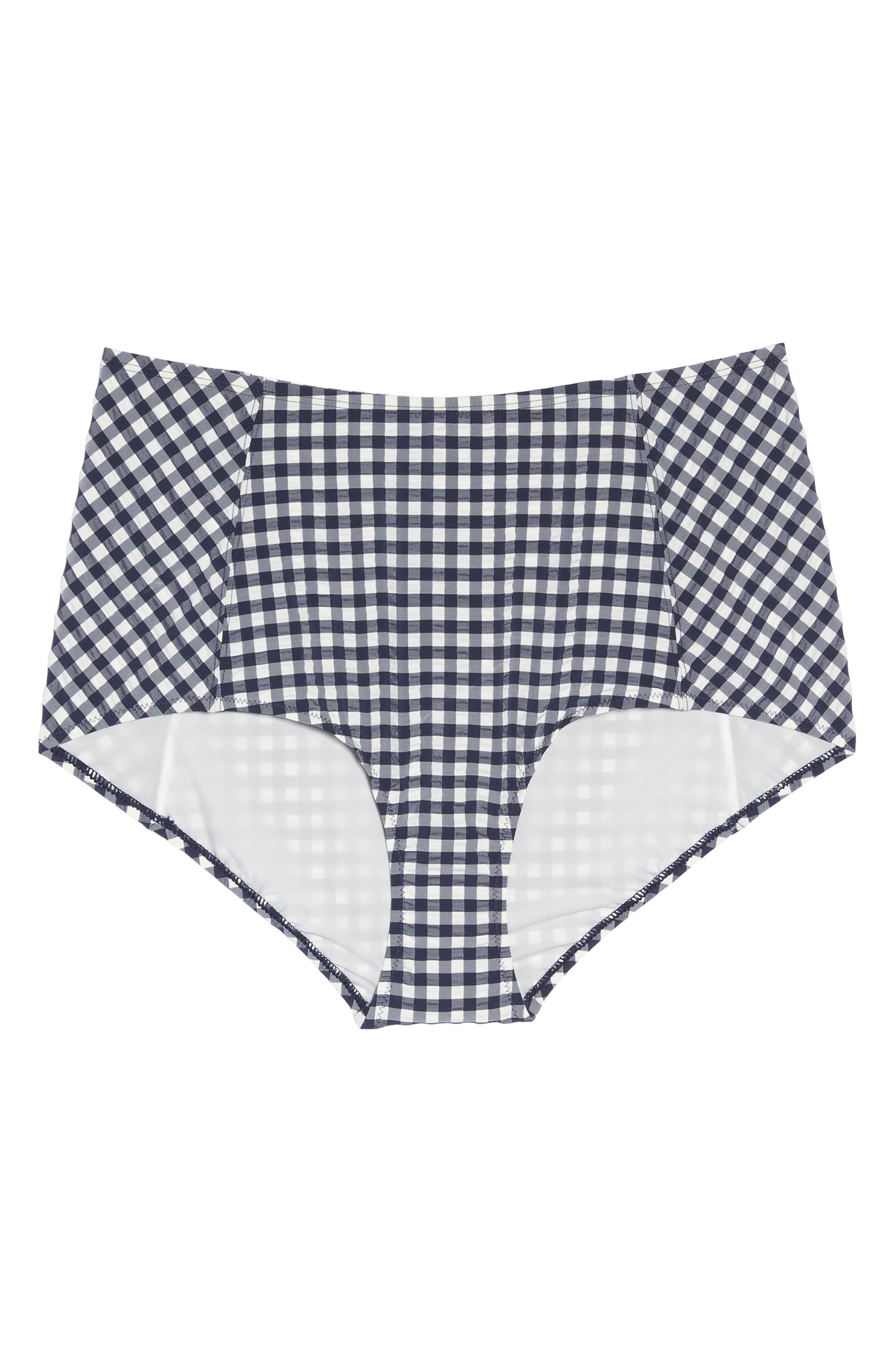 Gingham High Waist Bikini Bottoms,                             Alternate thumbnail 9, color,                             Tory Navy / White