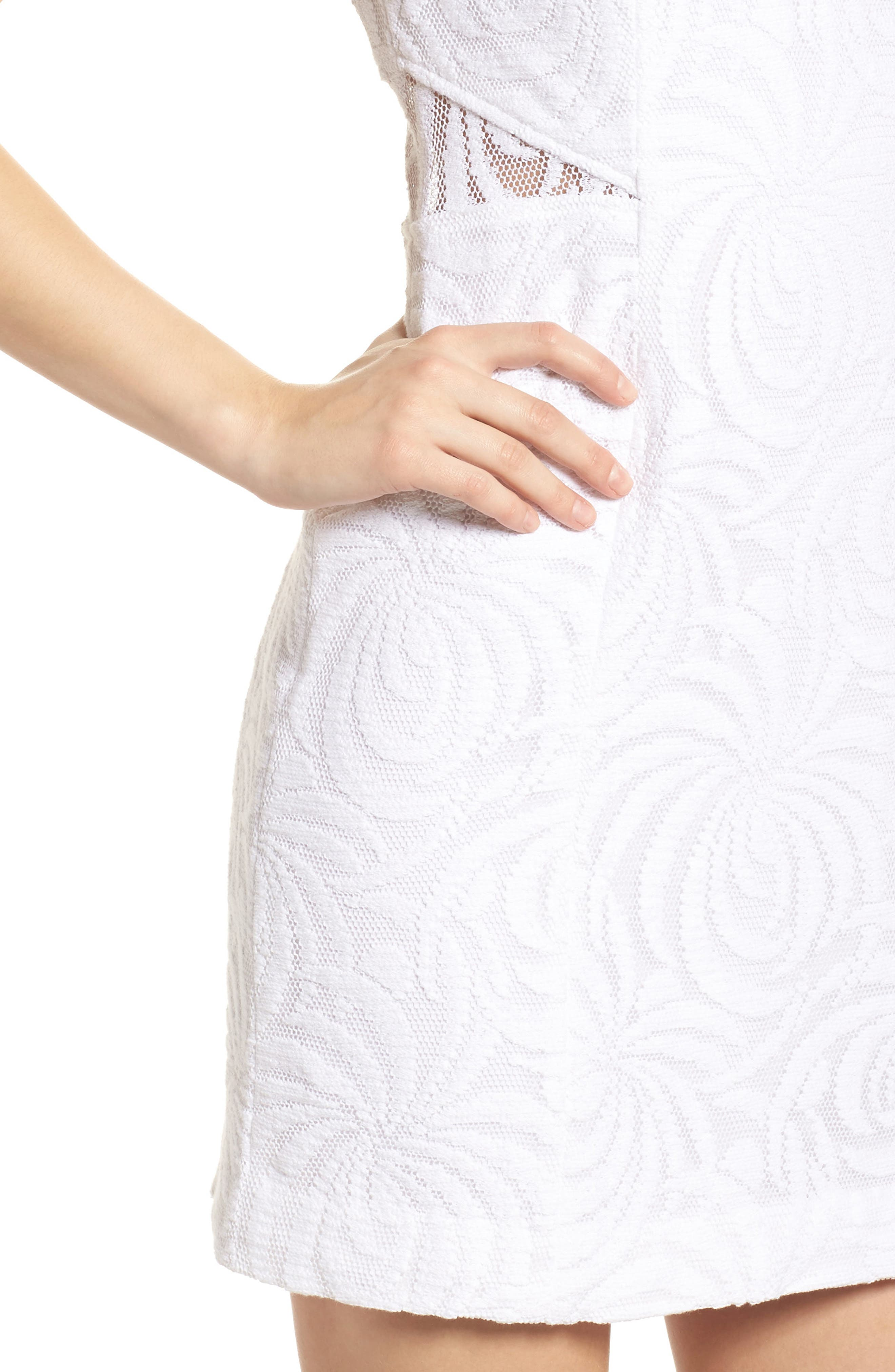 Blakely Lace Shift Dress,                             Alternate thumbnail 4, color,                             Resort White Sea Swirling Lace