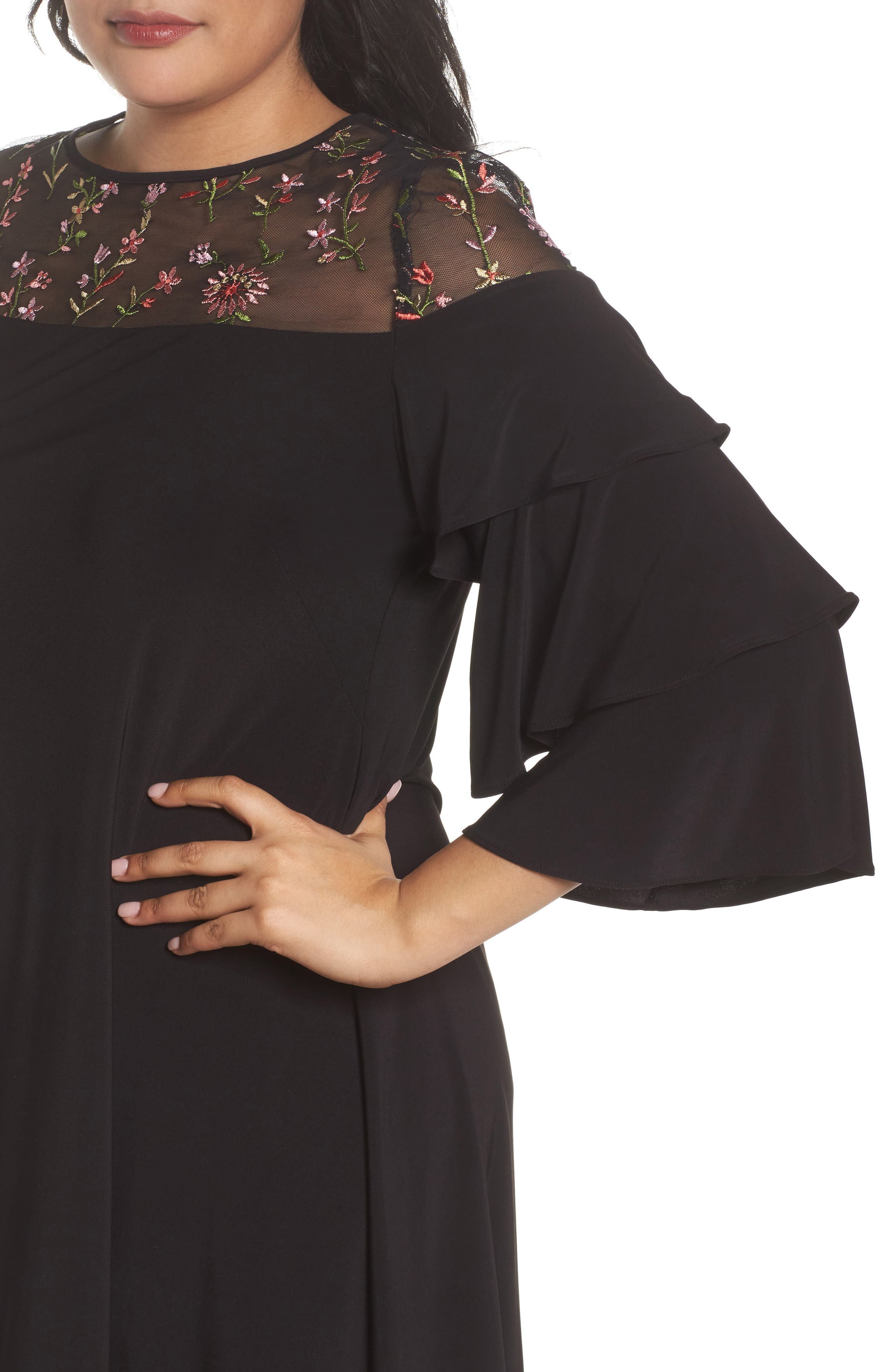 Ruffled Sleeve Embroidered Yoke A-Line Dress,                             Alternate thumbnail 4, color,                             Black/ Coral