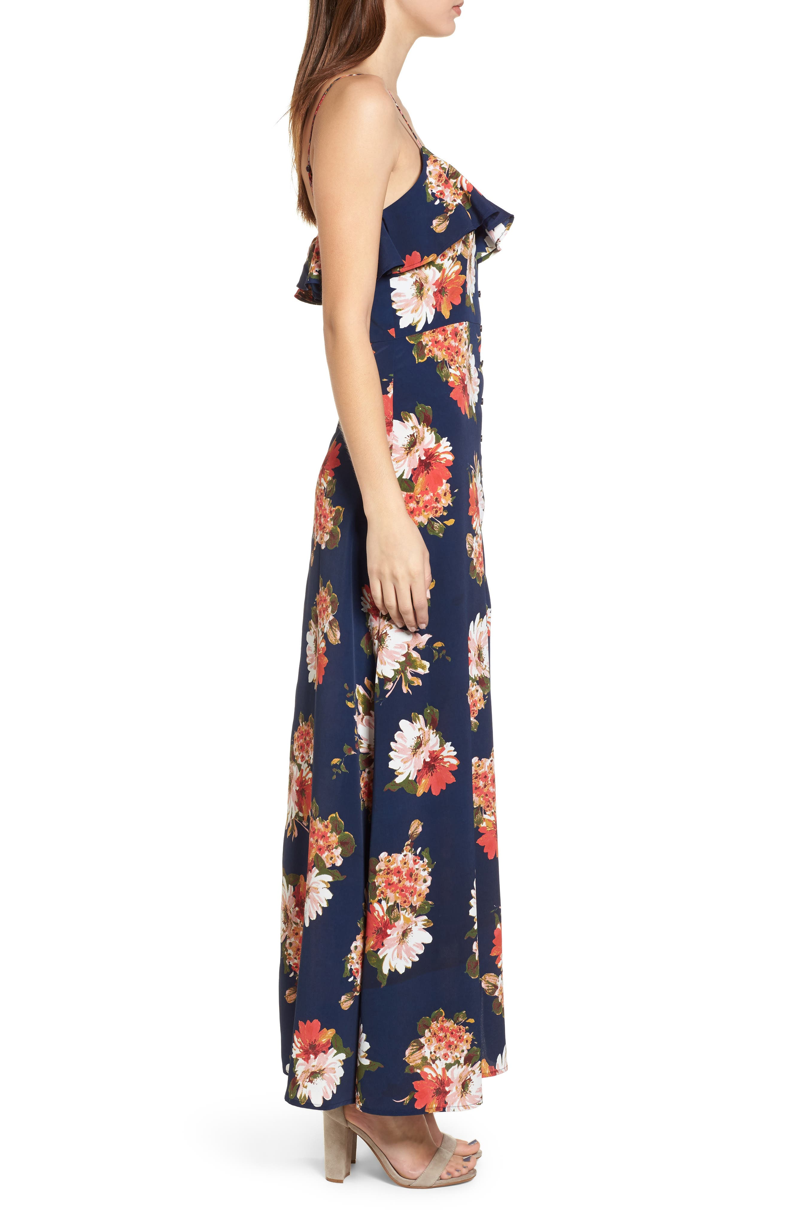 Floral Maxi Dress,                             Alternate thumbnail 3, color,                             Navy Coral