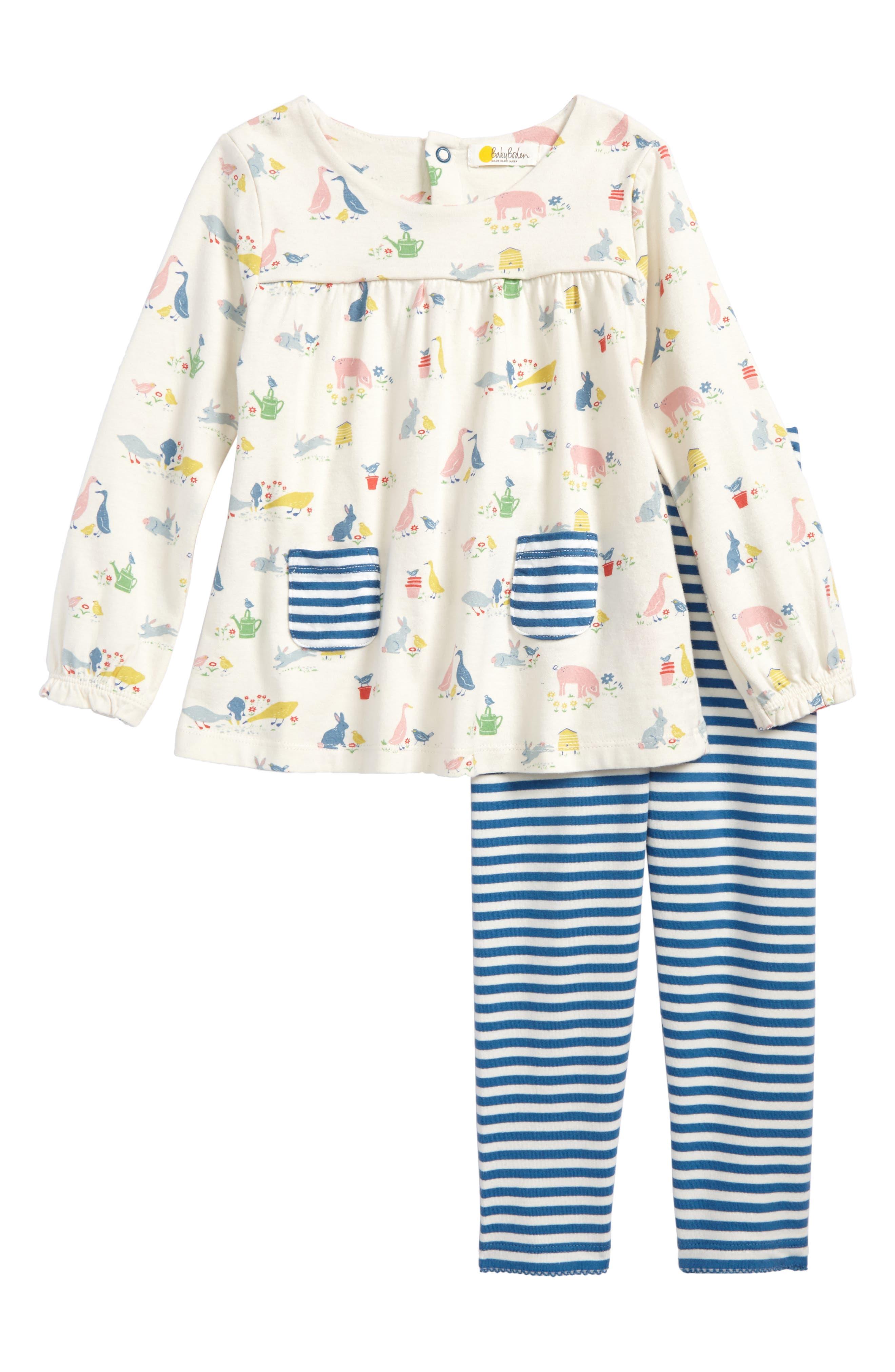 Alternate Image 1 Selected - Mini Boden Jersey Tunic & Leggings Set (Baby Girls & Toddler Girls)