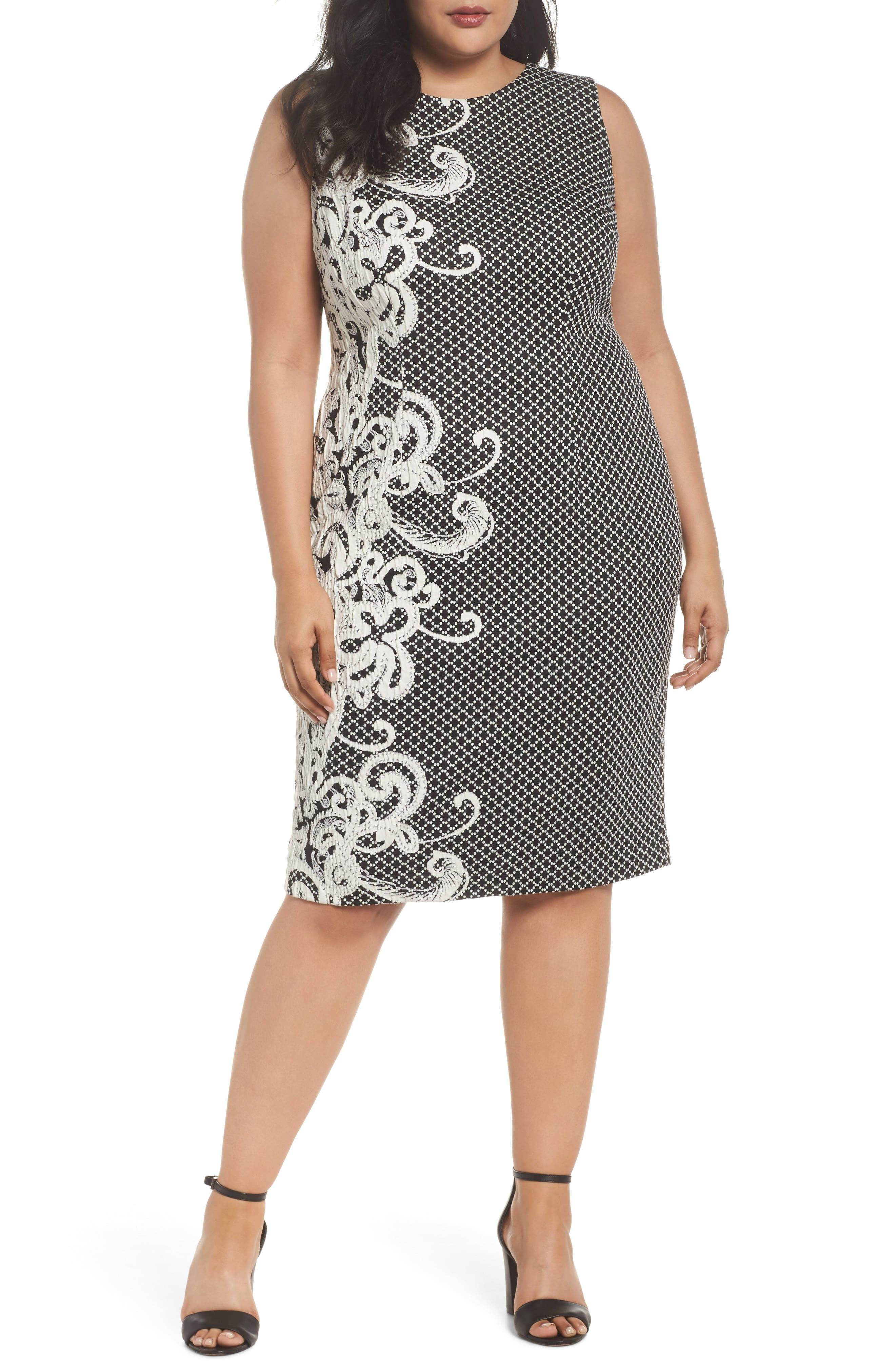 Scroll Border Knit Sheath Dress,                             Main thumbnail 1, color,                             Black/ Ivory
