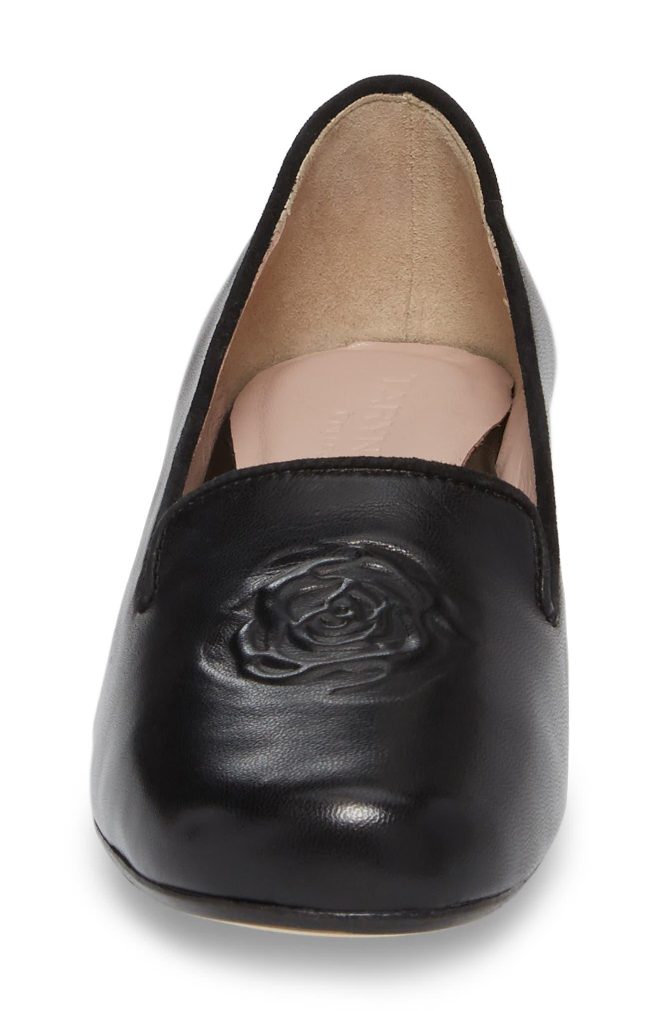 Taryn Rose Belissa Loafer,                             Alternate thumbnail 4, color,                             Black Leather