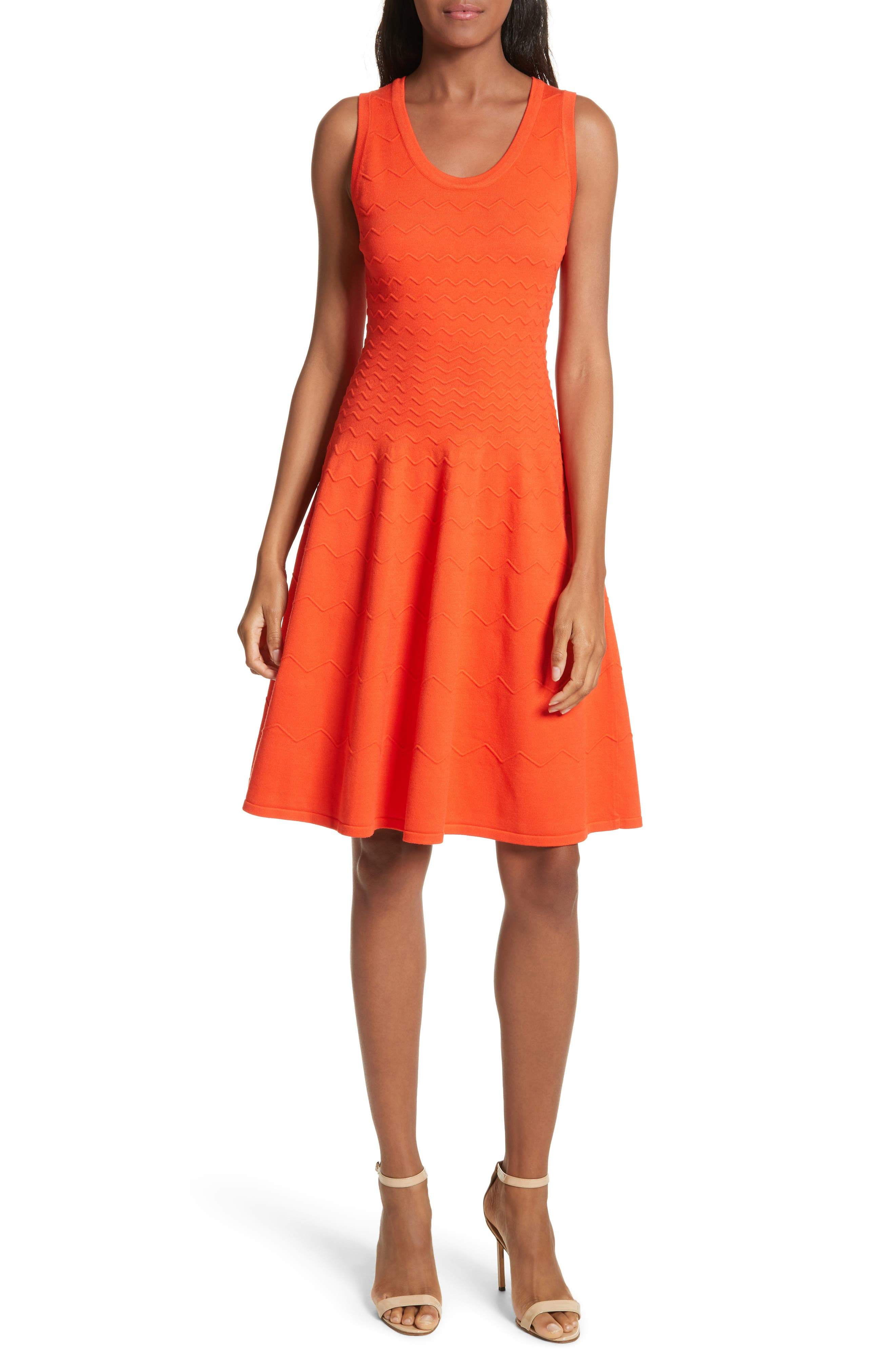 Dégradé Chevron Fit & Flare Dress,                         Main,                         color, Poppy