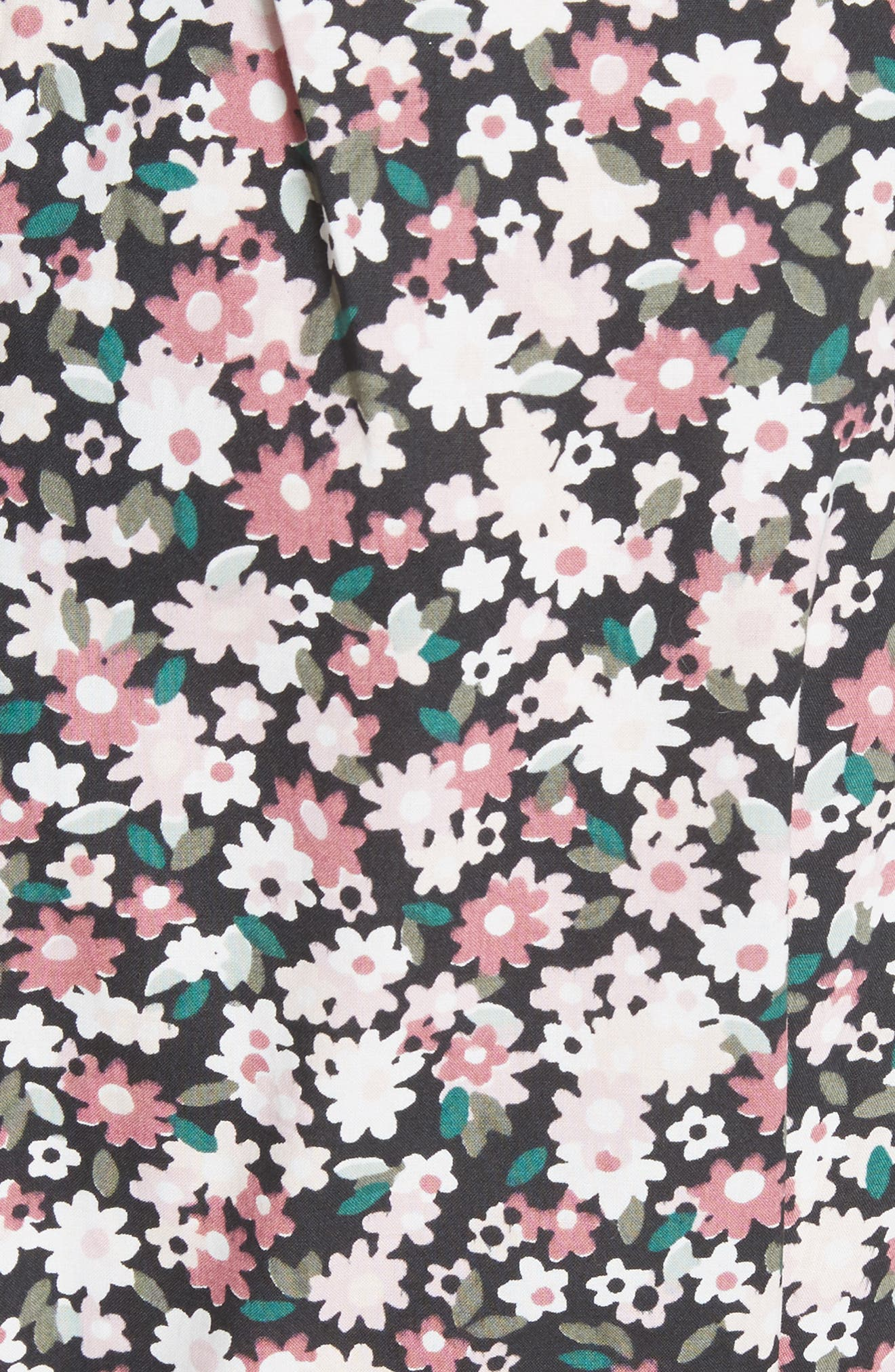 wildflower poplin dress,                             Alternate thumbnail 5, color,                             Black