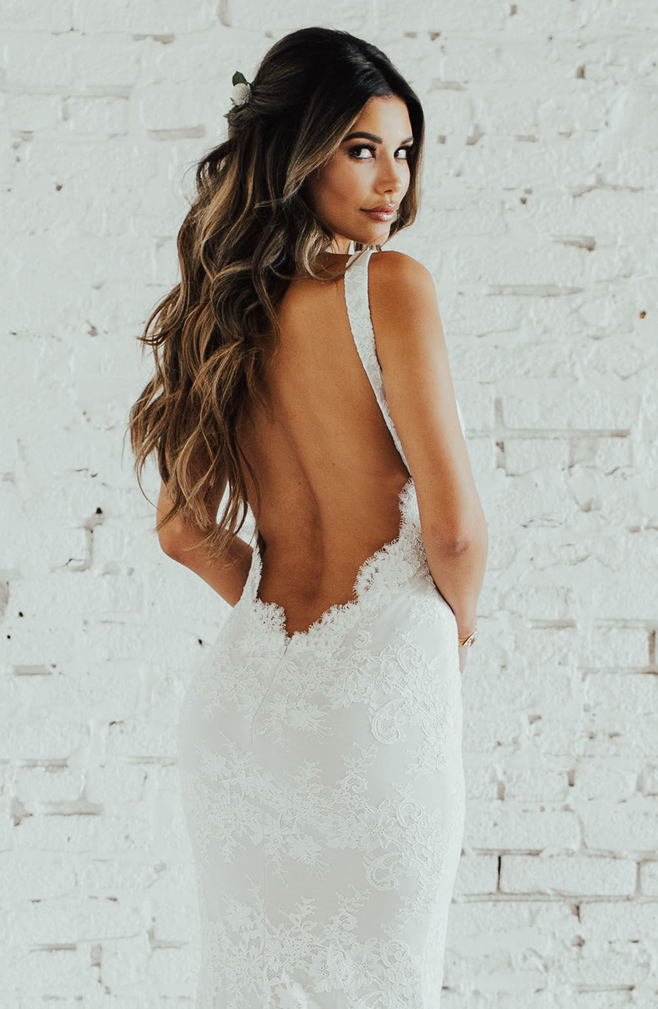 Oslo Chantilly Lace Mermaid Gown,                             Alternate thumbnail 4, color,                             Ivory/ Nude