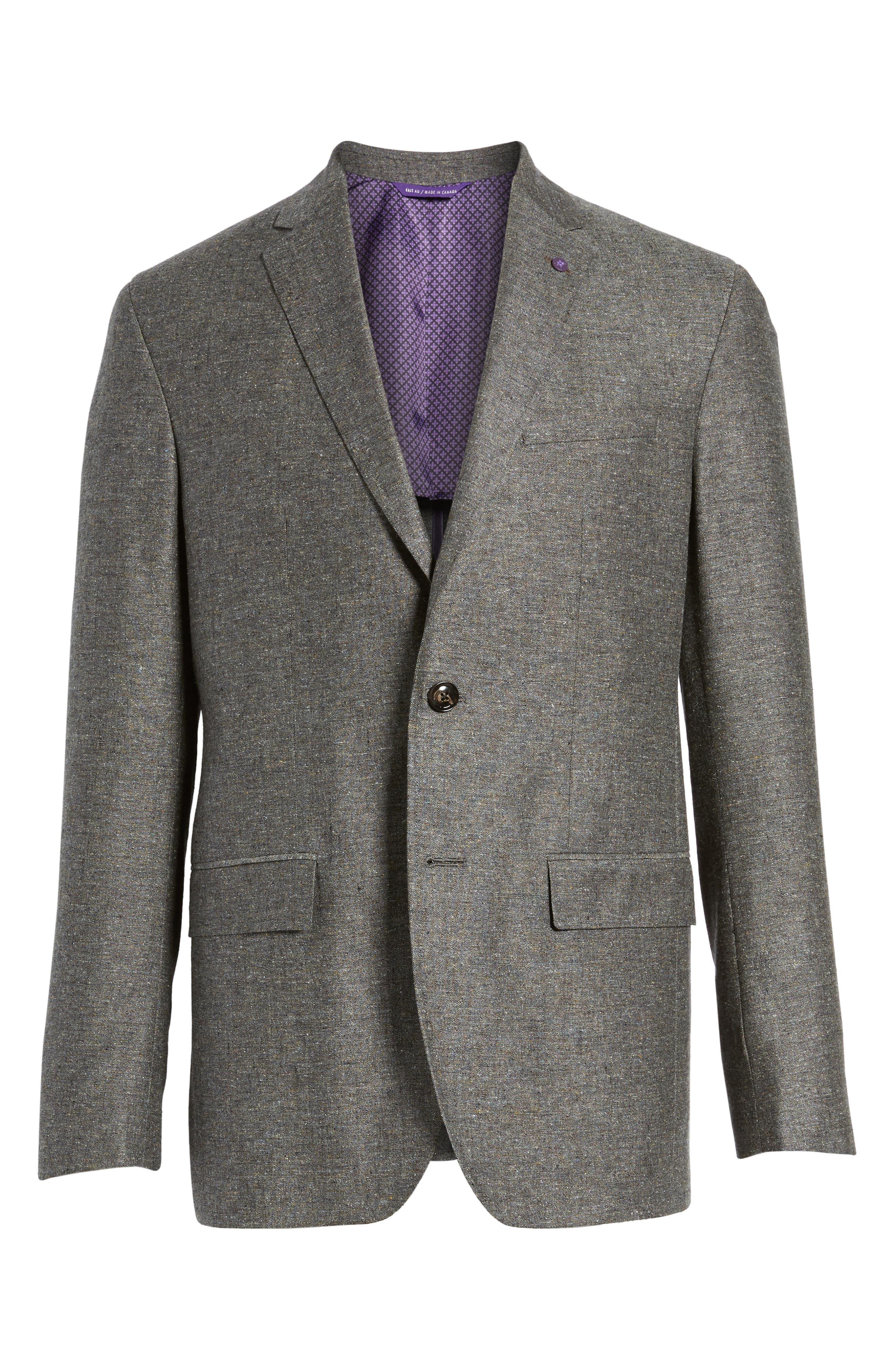 Konan Trim Fit Silk & Linen Blazer,                             Alternate thumbnail 6, color,                             Grey