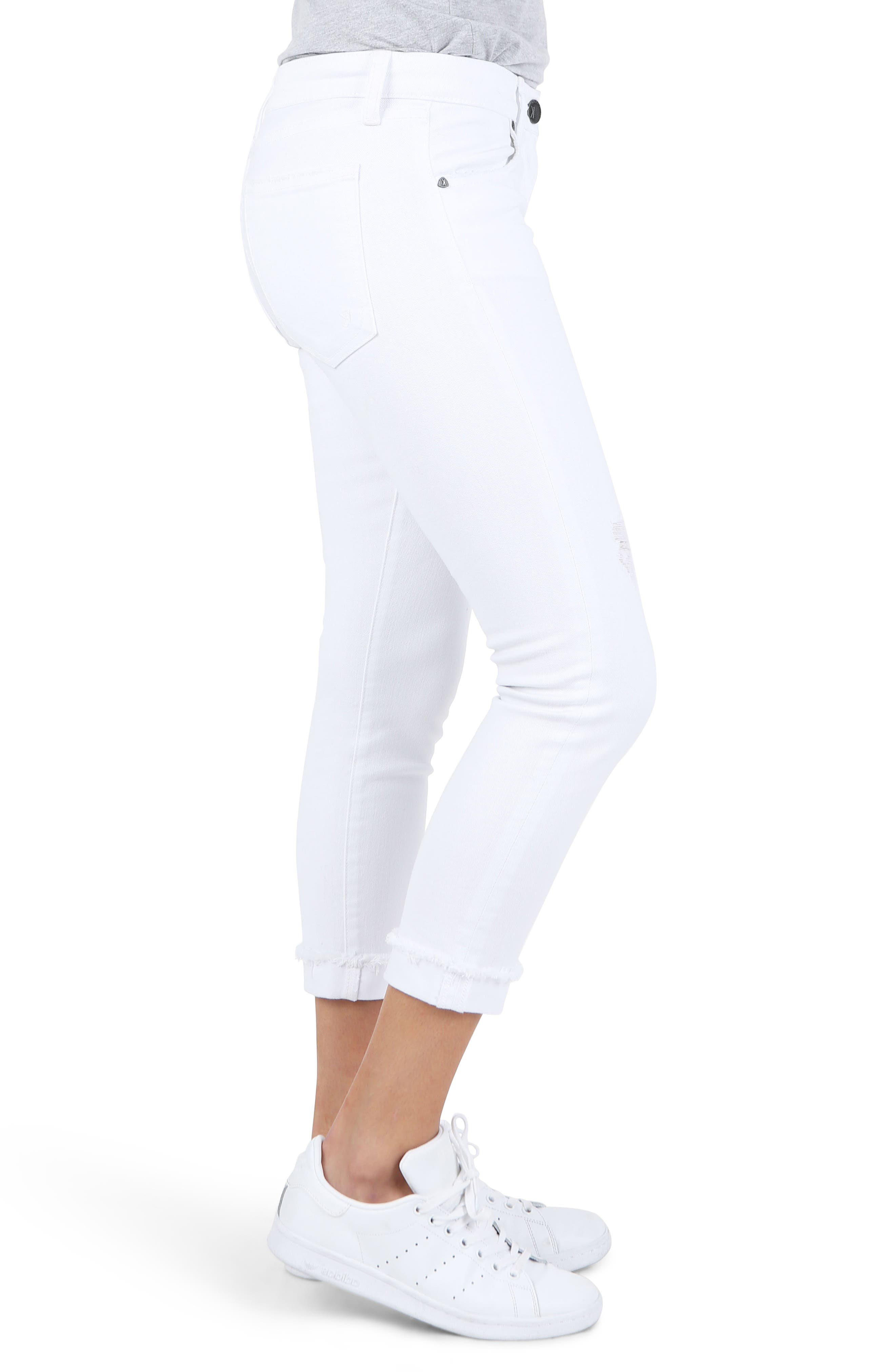 KUT Kollection Amy Crop White Jeans,                             Alternate thumbnail 3, color,                             Optical White