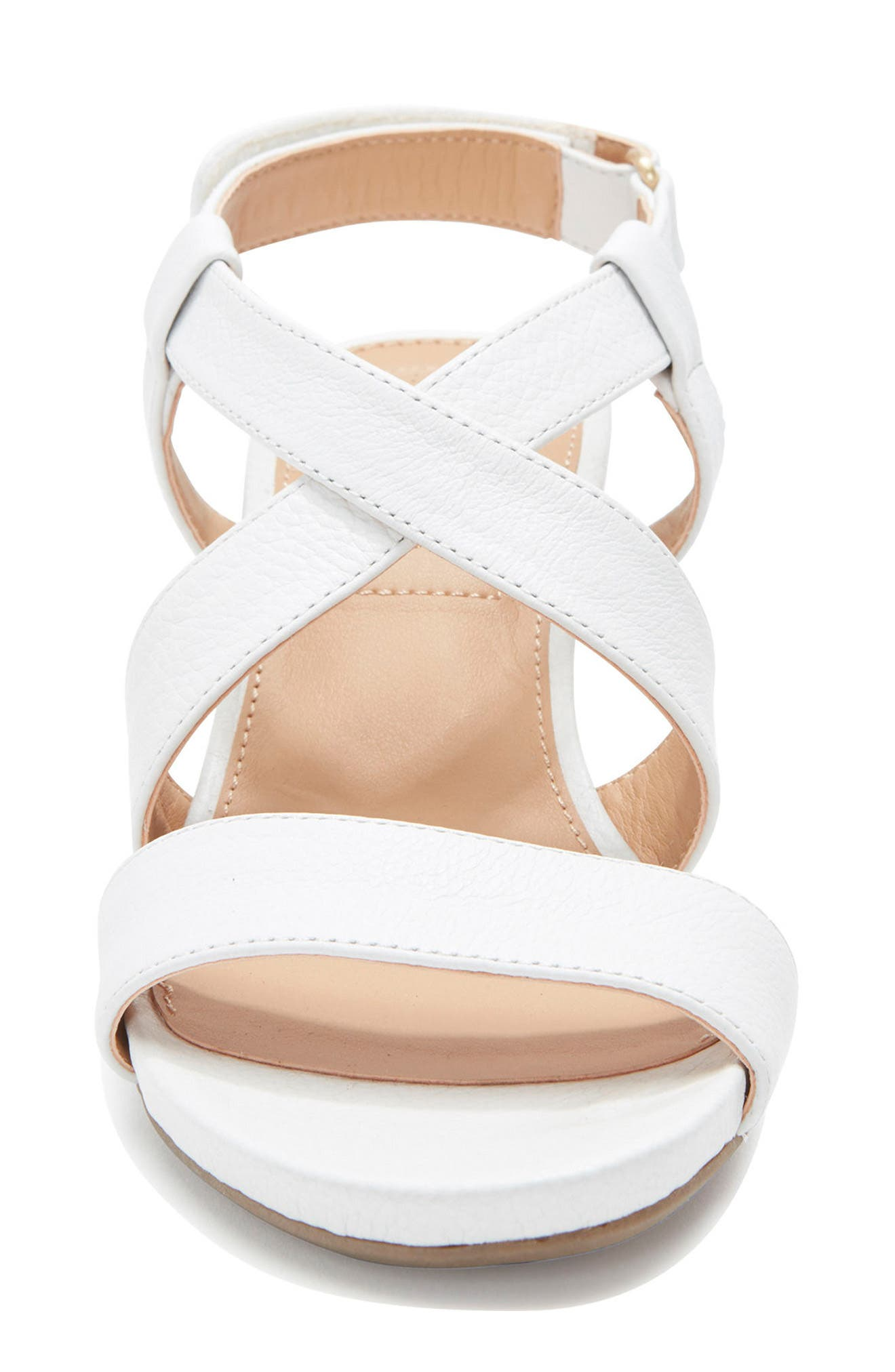 Payton Strappy Wedge,                             Alternate thumbnail 5, color,                             White Leather