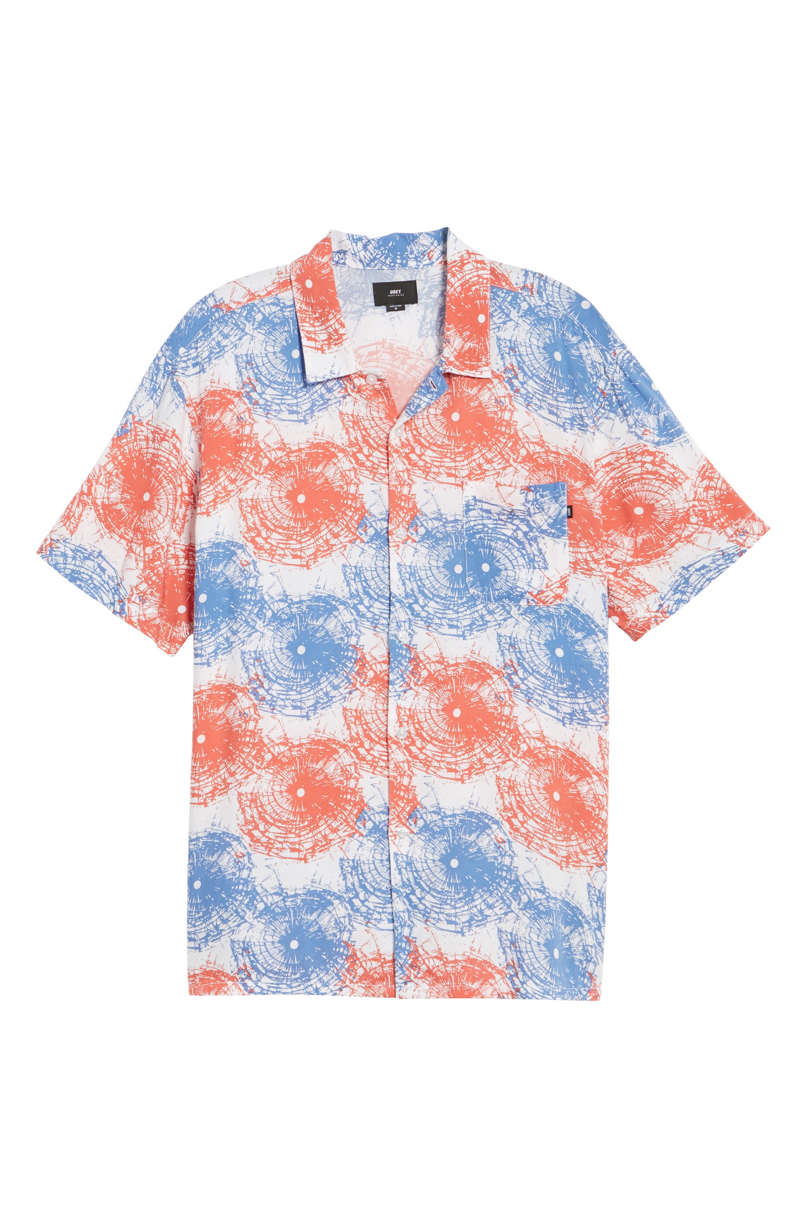 Shattered Woven Shirt,                             Alternate thumbnail 6, color,                             Red Multi