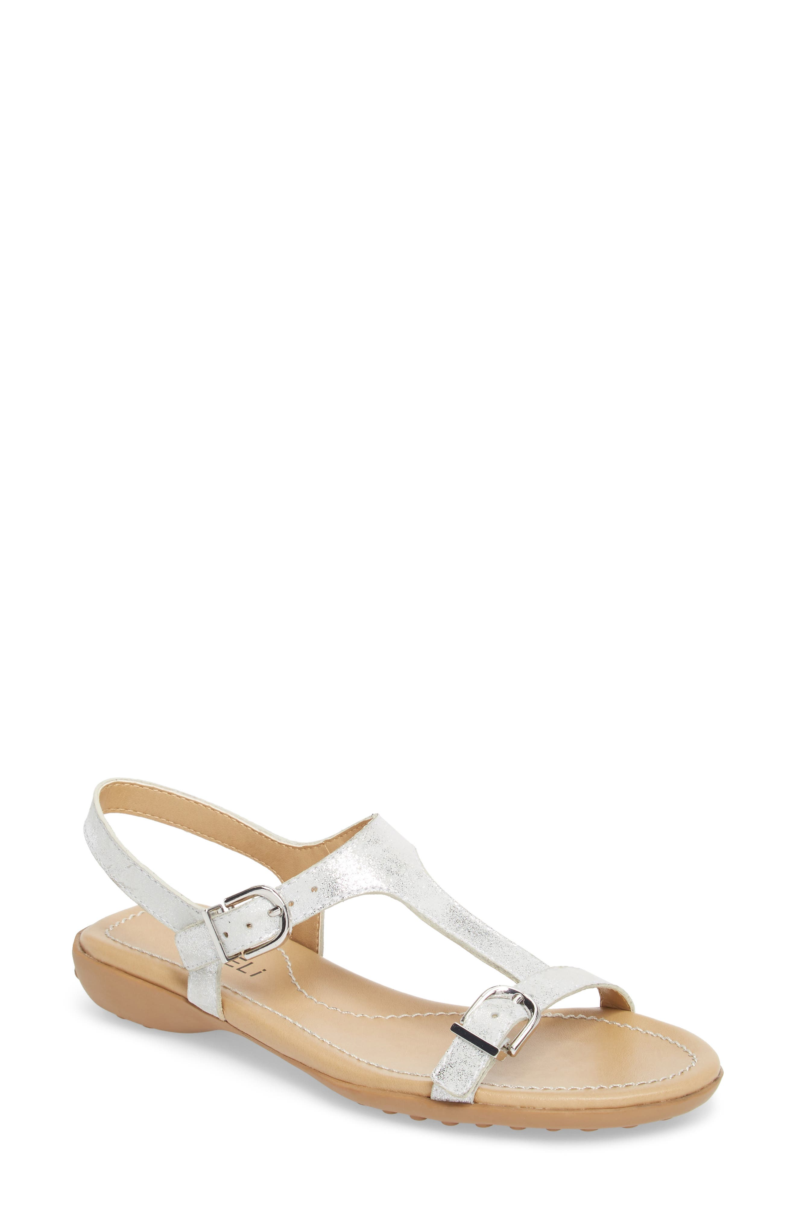 Taletha T-Strap Sandal,                             Main thumbnail 1, color,                             Silver Printed Suede